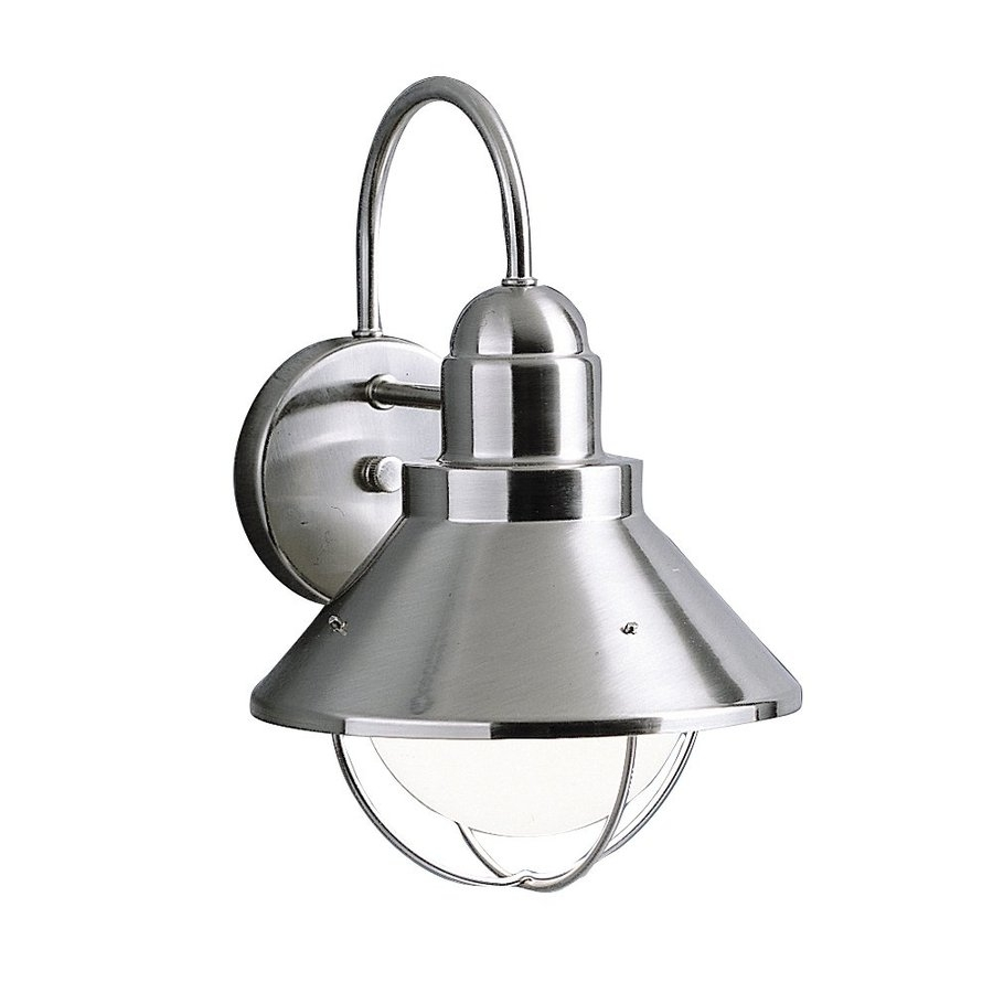Shop Kichler Seaside 12 In H Brushed Nickel Dark Sky Outdoor Wall For Dark Sky Outdoor Wall Lighting (View 10 of 15)