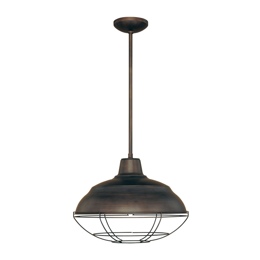Shop Millennium Lighting Neo Industrial 17 In Rubbed Bronze With Regard To Outdoor Hanging Lights At Lowes (#10 of 15)