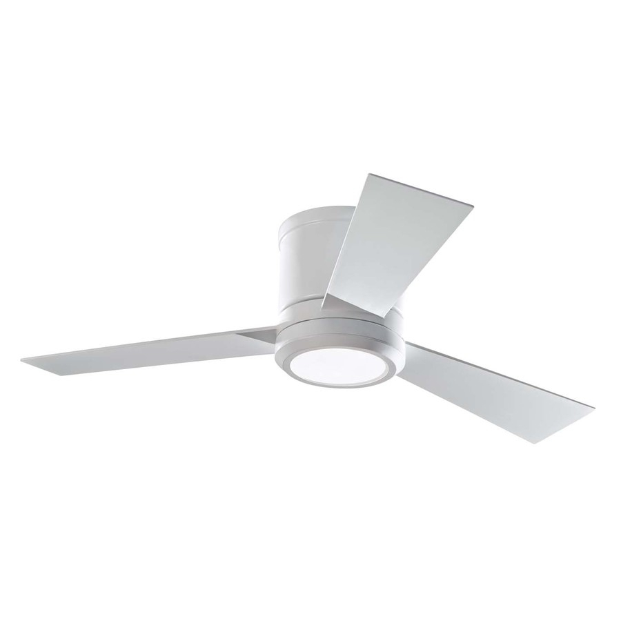Shop Monte Carlo Fan Company Clarity 42 In Rubberized White Flush Inside Outdoor Ceiling Fans With Flush Mount Lights (#15 of 15)