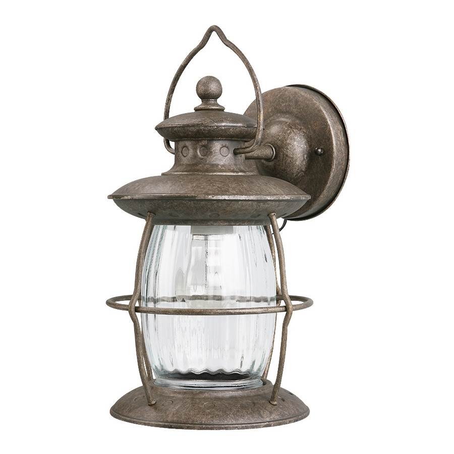 Shop Portfolio 12 5/8 In Antique Pewter Outdoor Wall Light At Lowes Intended For Pewter Outdoor Wall Lights (#9 of 15)