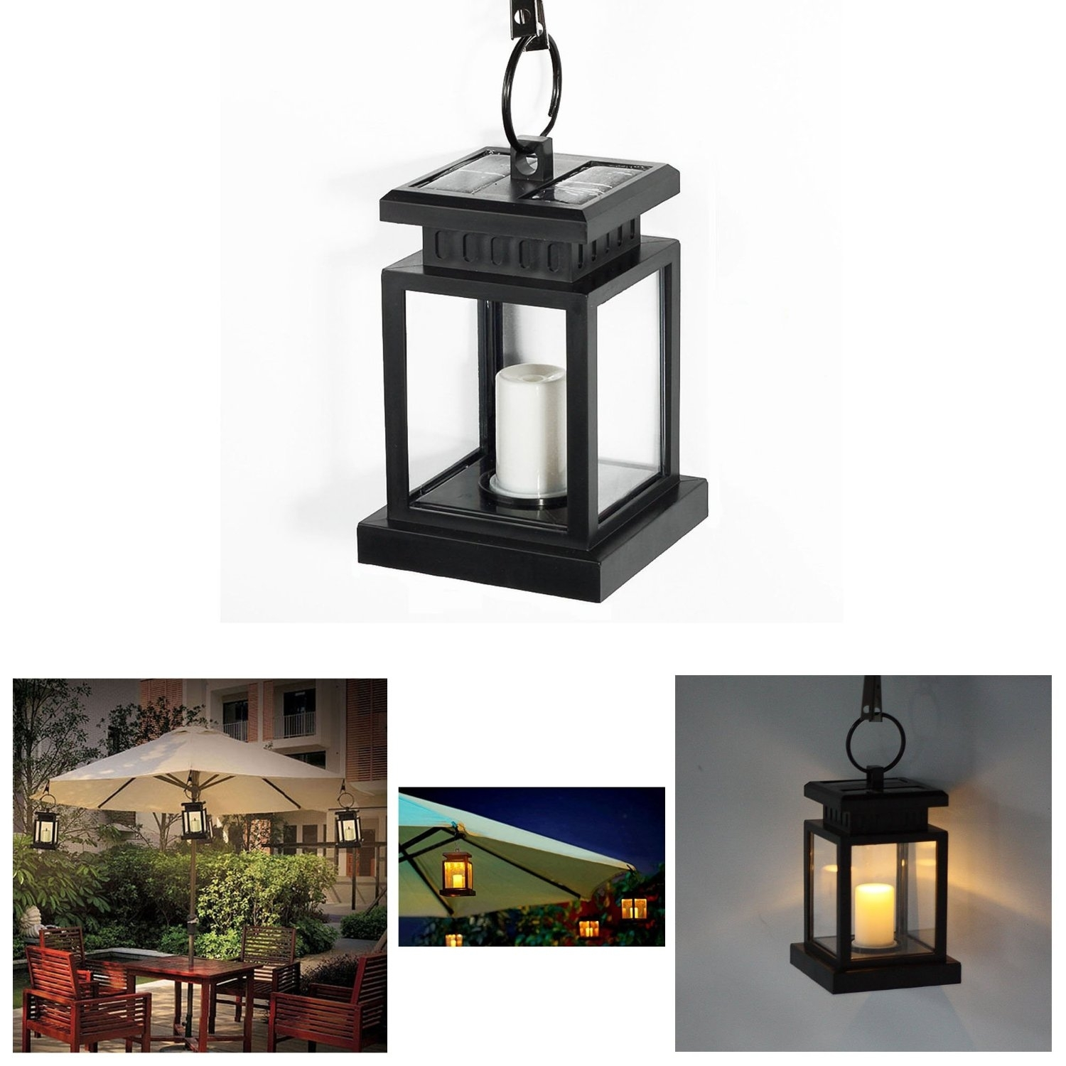 Solar Powered Hanging Umbrella Lantern Candle Led Light With Clamp Regarding Outdoor Hanging Lanterns With Candles (View 7 of 15)
