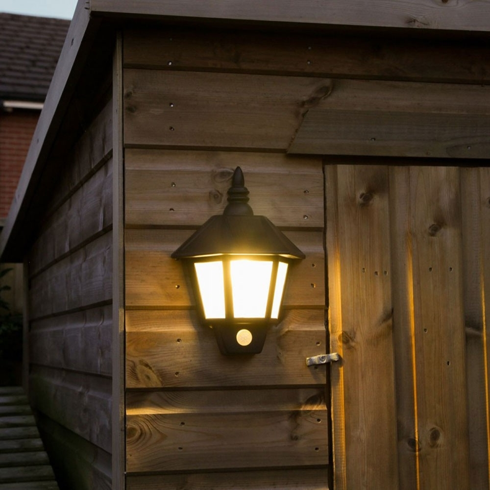 Solar Welcome Wall Light With Pir, Solar Outdoor Wall Sconces With Regard To Pir Solar Outdoor Wall Lights (#13 of 15)