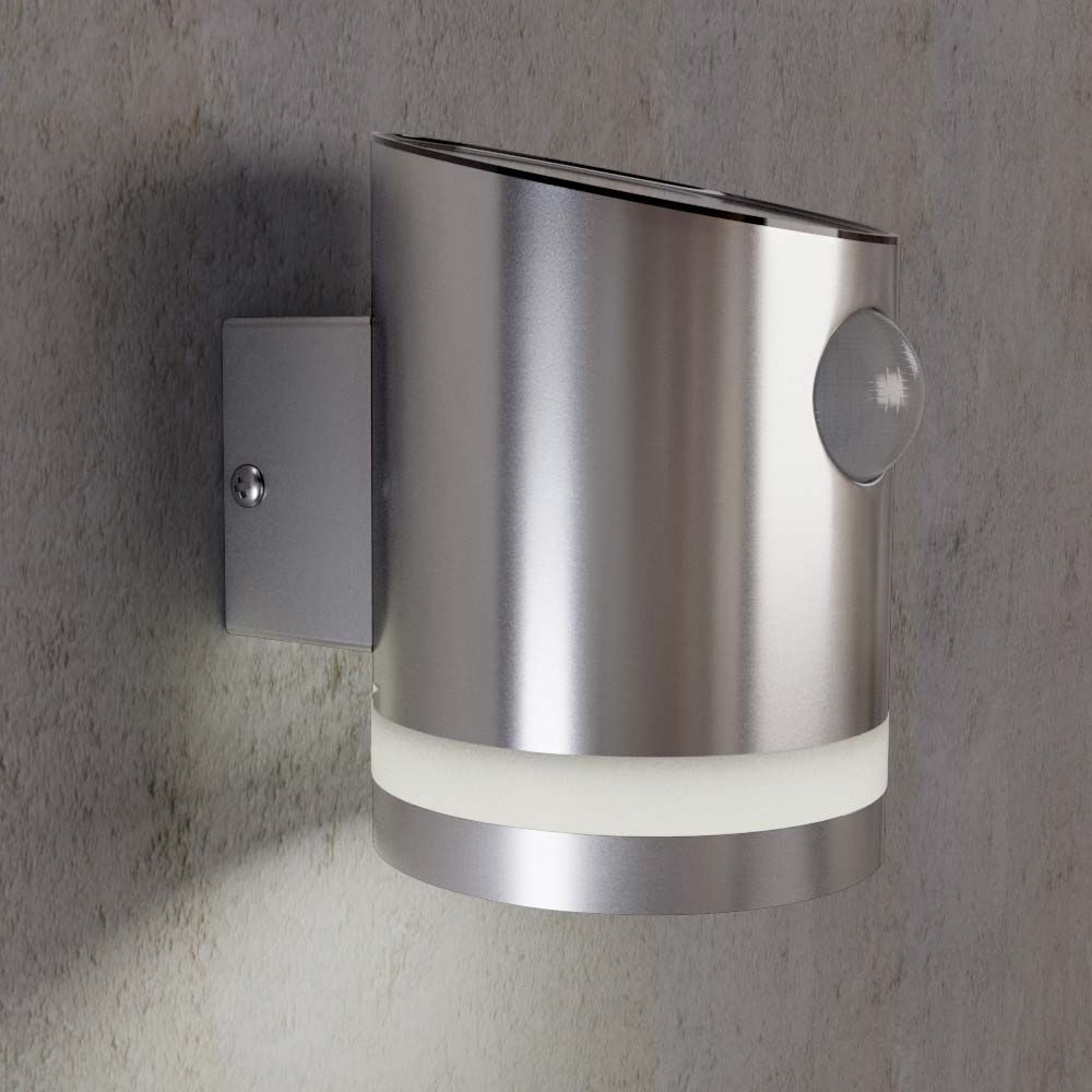 Stainless Steel Outdoor Solar Powered Truro Solar Motion Wall Light Pertaining To Solar Powered Outdoor Wall Lights (View 3 of 15)