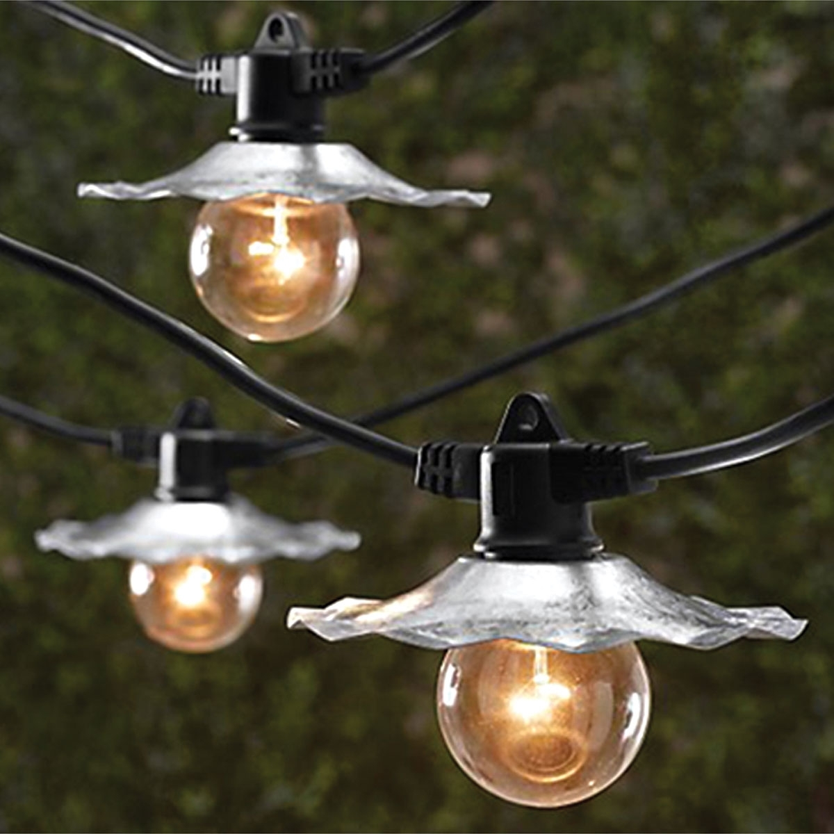 String Lights With Galvanized Silver Shades – 35 Ft (#14 of 15)