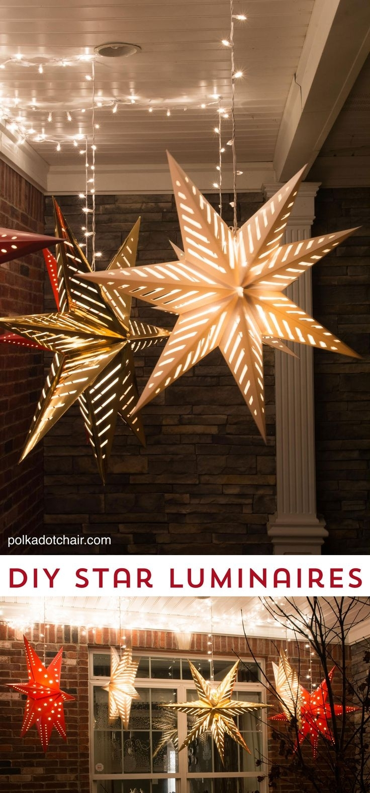Stupefying Hanging Star Christmas Lights Outdoor Outside Chritsmas Decor In Outdoor Hanging Lights For Christmas (#15 of 15)