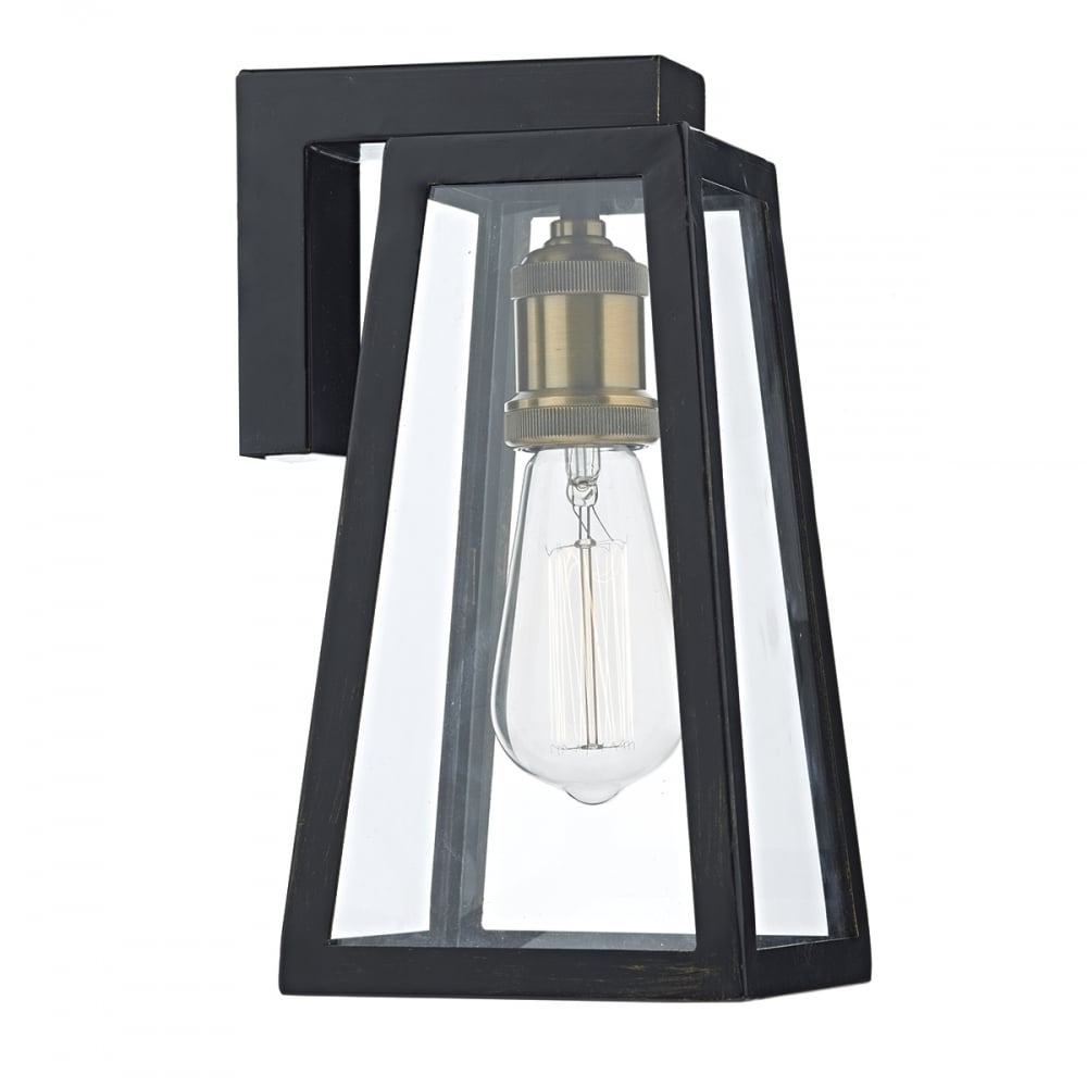 Inspiration about Tapered Matt Black Outdoor Wall Lantern With Clear Glass – Ip43 With Vintage Outdoor Wall Lights (#15 of 15)