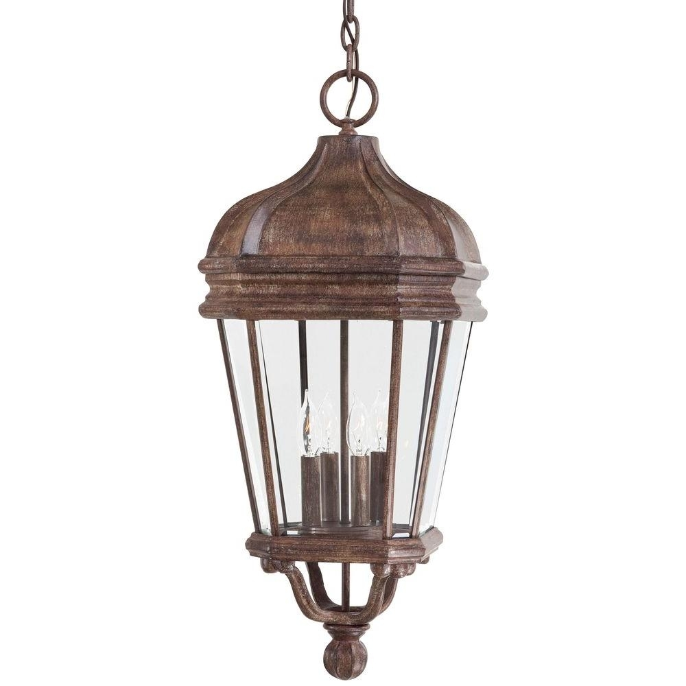 The Great Outdoorsminka Lavery Harrison Vintage Rust 4 Light With Indoor Outdoor Hanging Lights (#10 of 15)