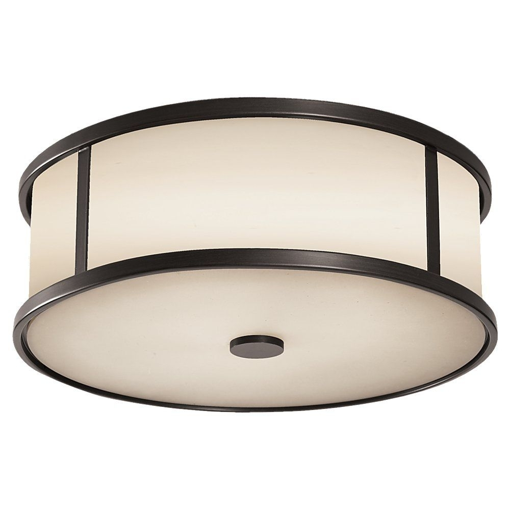 Inspiration about The Satchmo Drum Flush Mount | Espresso Steel With Opal Etched Glass Regarding Outdoor Ceiling Flush Lights (#9 of 15)