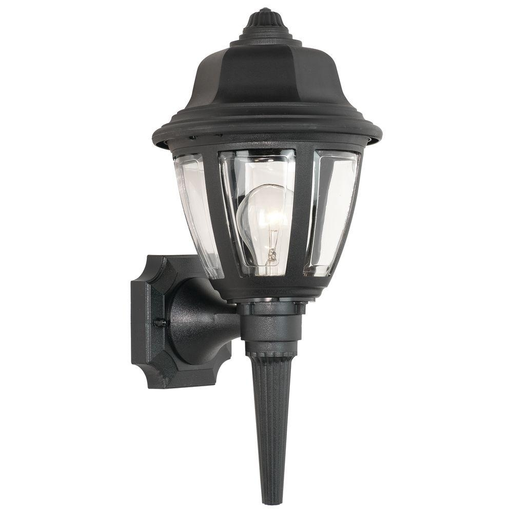 Thomas Lighting 1 Light Black Outdoor Wall Mount Lantern Sl94427 For Plastic Outdoor Wall Light Fixtures (#12 of 15)