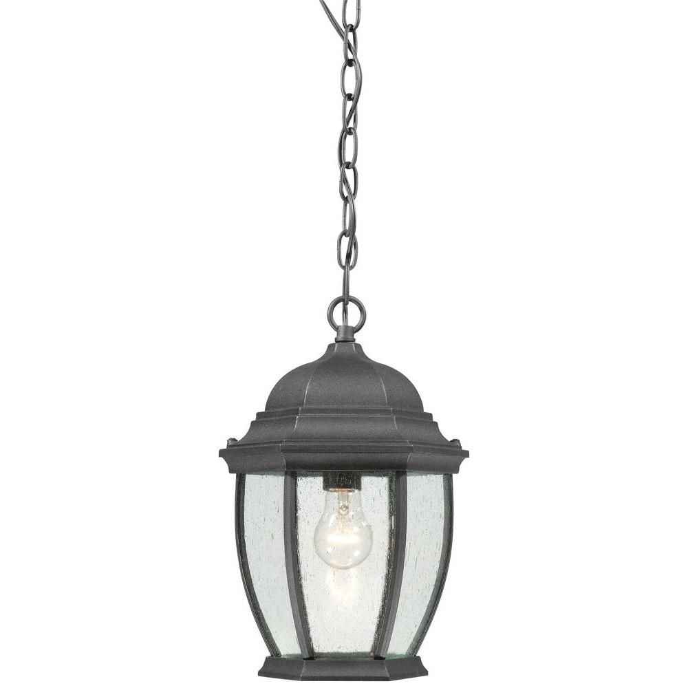 Inspiration about Thomas Lighting Covington 1 Light Hanging Outdoor Black Lantern Intended For Large Outdoor Ceiling Lights (#4 of 15)