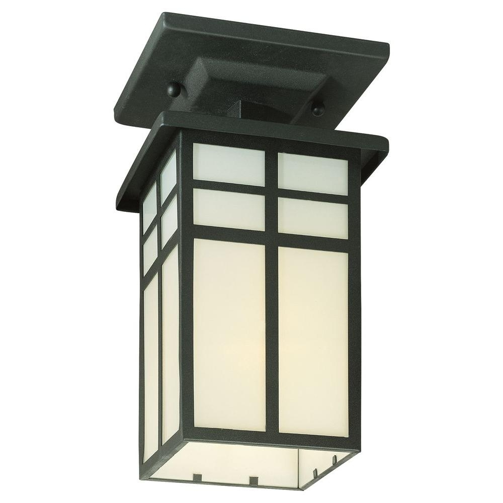Inspiration about Thomas Lighting Mission Black 1 Light Outdoor Semi Flush Mount Regarding Outdoor Semi Flush Ceiling Lights (#3 of 15)