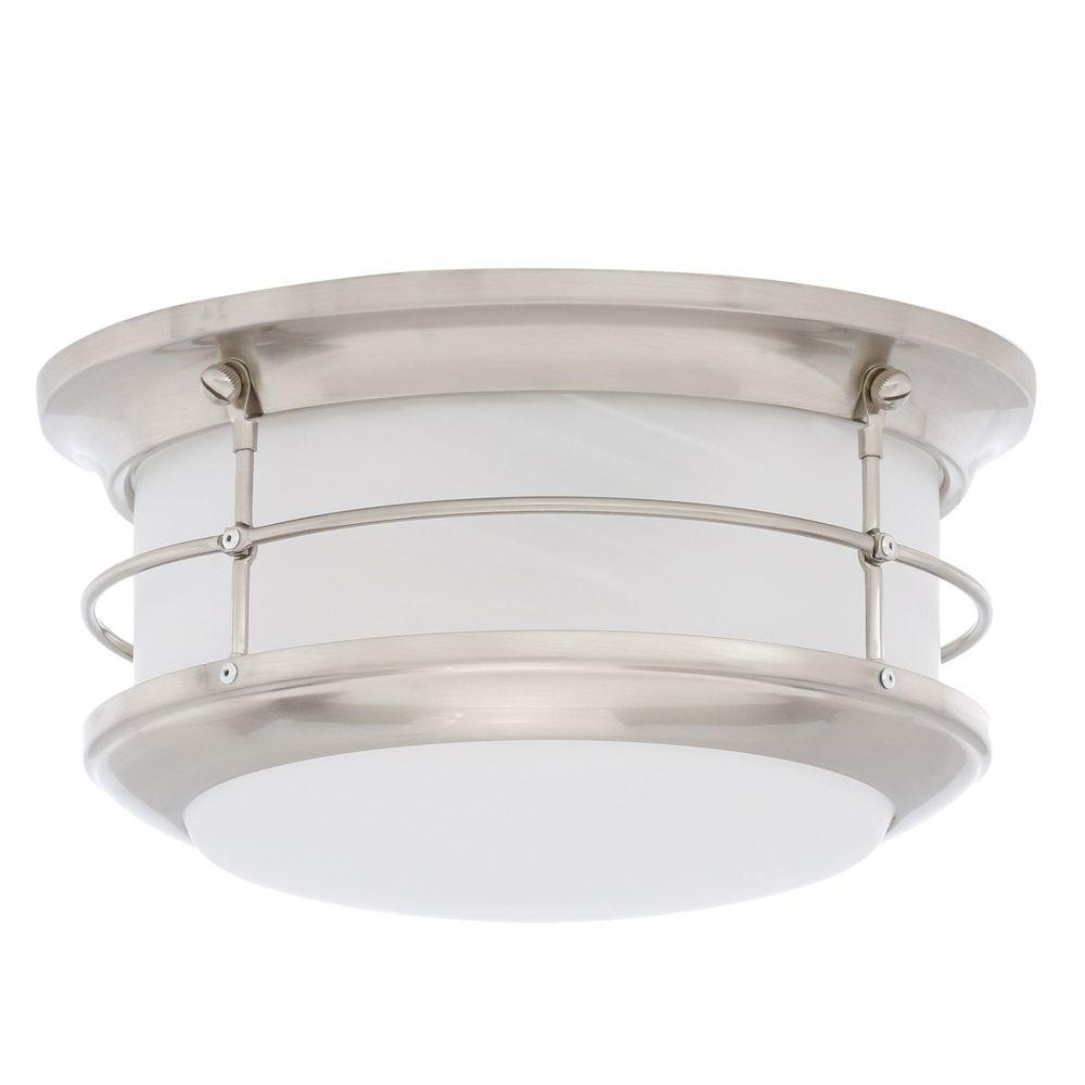 Inspiration about Thomas Lighting Newport Brushed Nickel 2 Light Outdoor Flushmount Pertaining To Modern Outdoor Light Fixtures At Home Depot (#10 of 15)