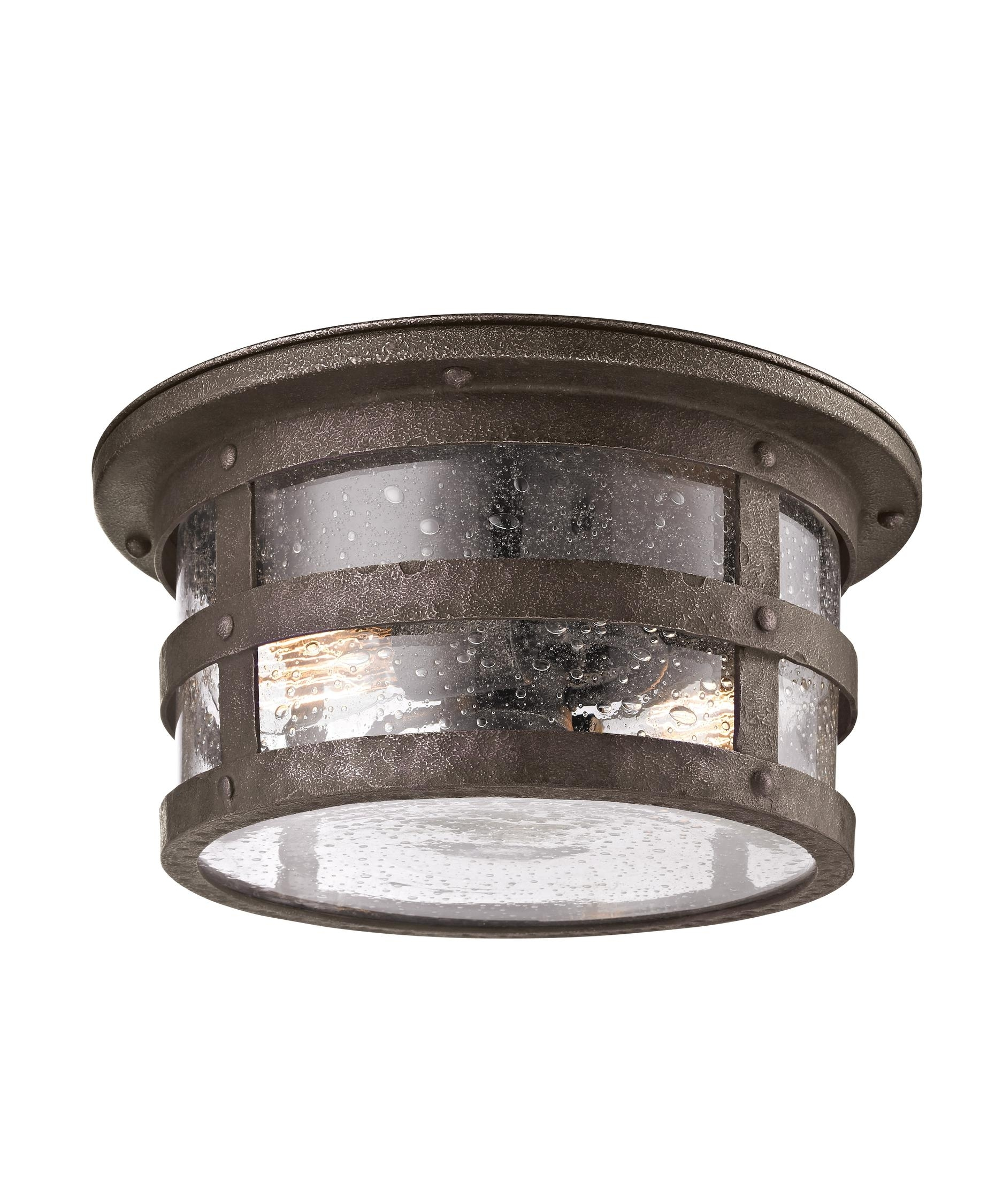 Troy Lighting C3310 Barbosa 15 Inch Wide 2 Light Outdoor Flush Mount Regarding Outdoor Fluorescent Ceiling Lights (#15 of 15)