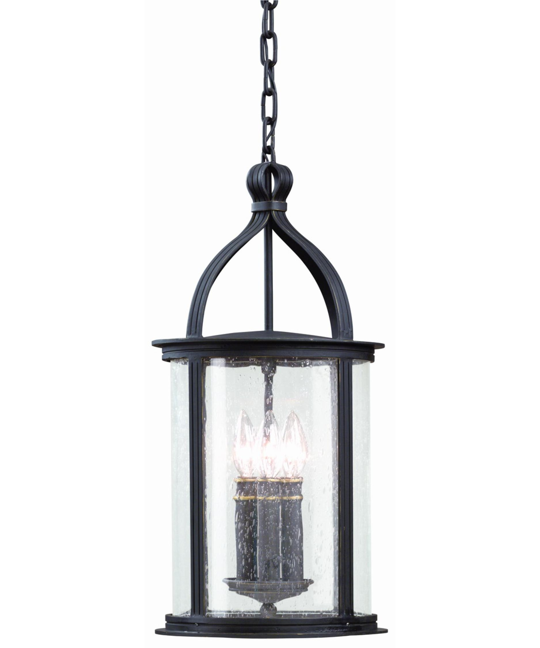 Troy Lighting F9476 Scarsdale 10 Inch Wide 3 Light Outdoor Hanging Throughout Outdoor Hanging Light Fixtures In Black (View 10 of 15)