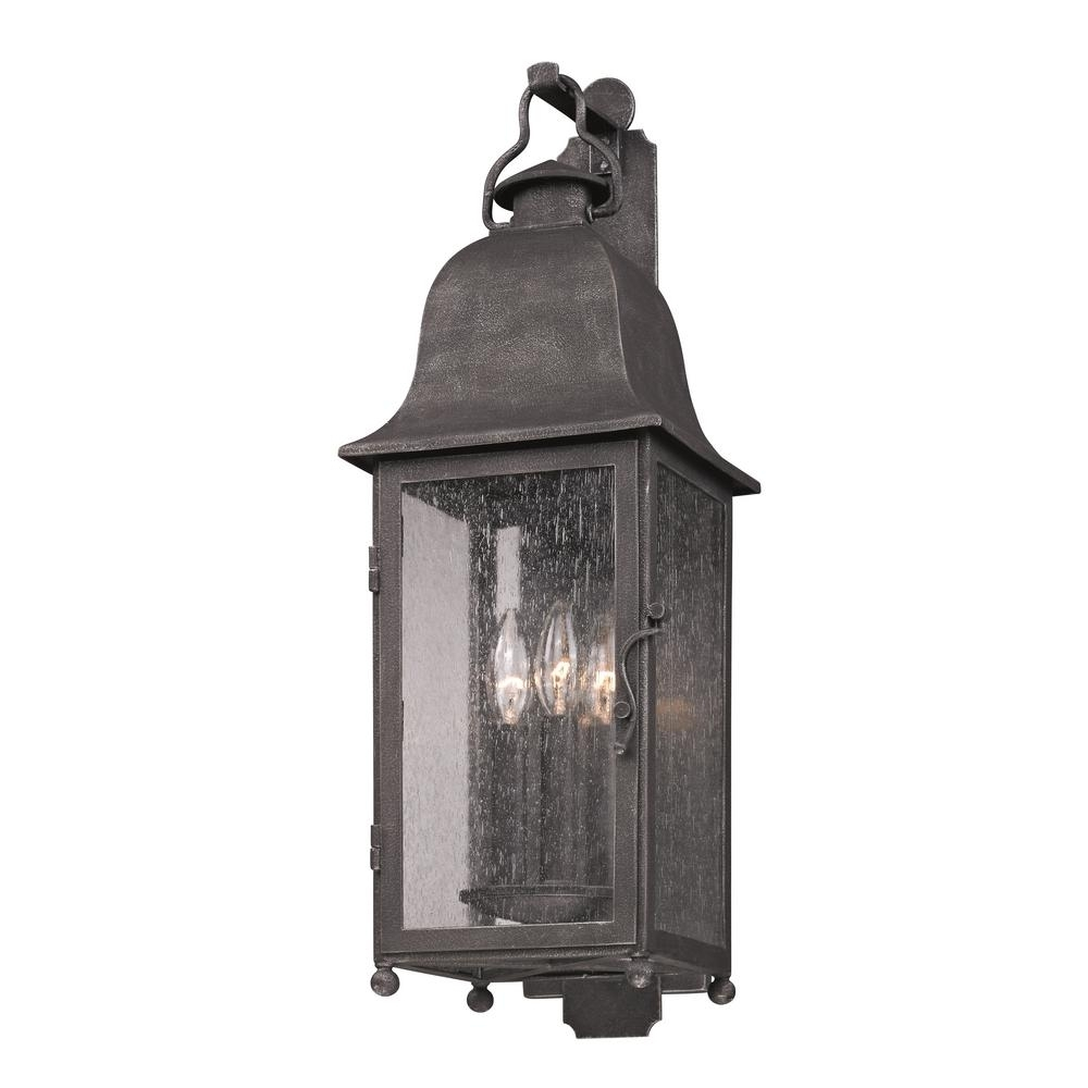Troy Lighting Larchmont 3 Light Aged Pewter Outdoor Wall Mount Pertaining To Pewter Outdoor Wall Lights (#15 of 15)