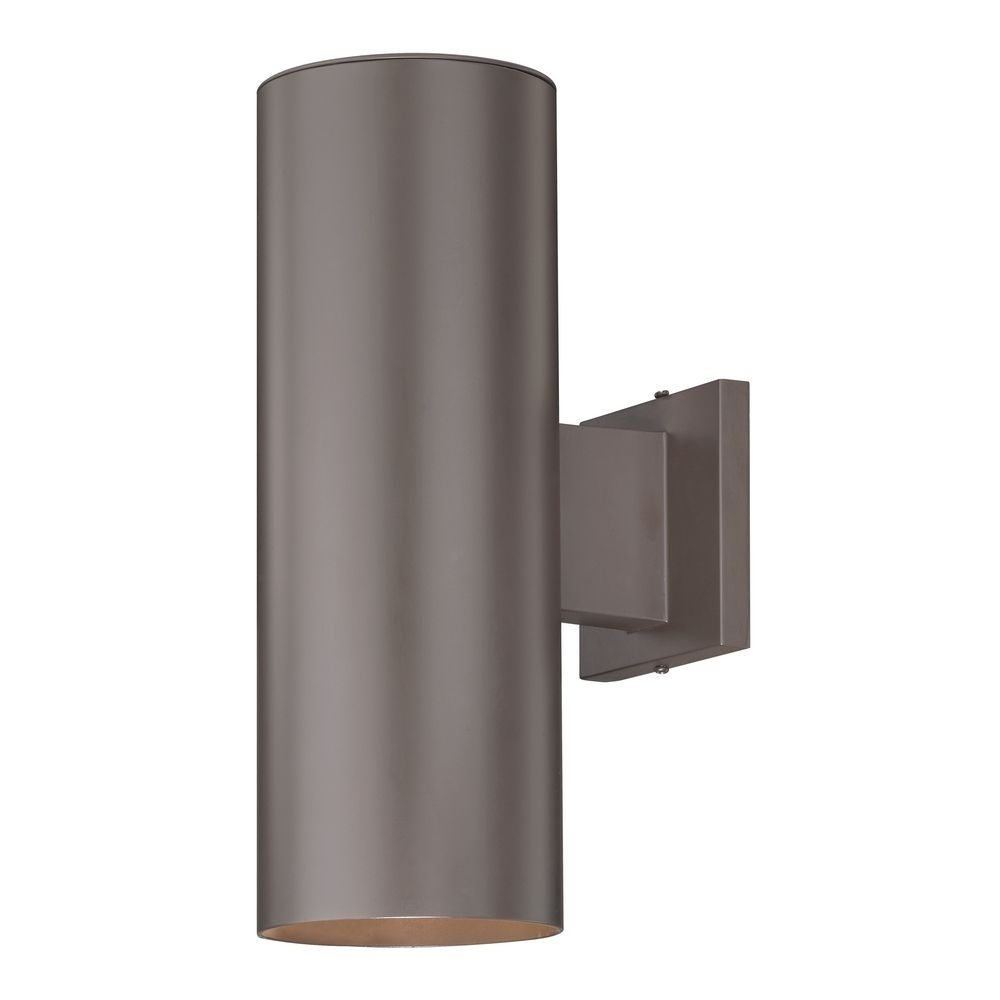 Up / Down Bronze Cylinder Outdoor Wall Light | 5052 Pcb Within Outdoor Up Down Wall Led Lights (#14 of 15)