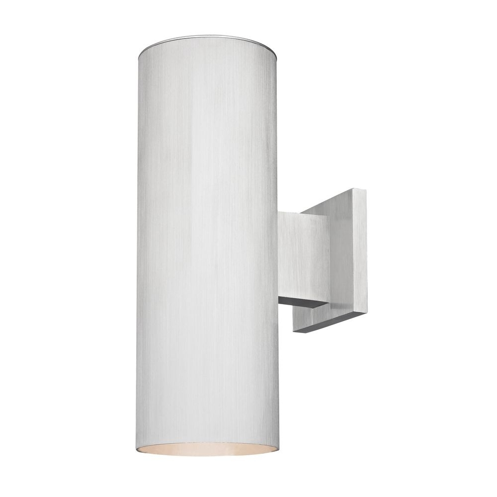 Inspiration about Up / Down Cylinder Outdoor Wall Light In Brushed Aluminum Finish With Regard To Aluminum Outdoor Wall Lighting (#6 of 15)