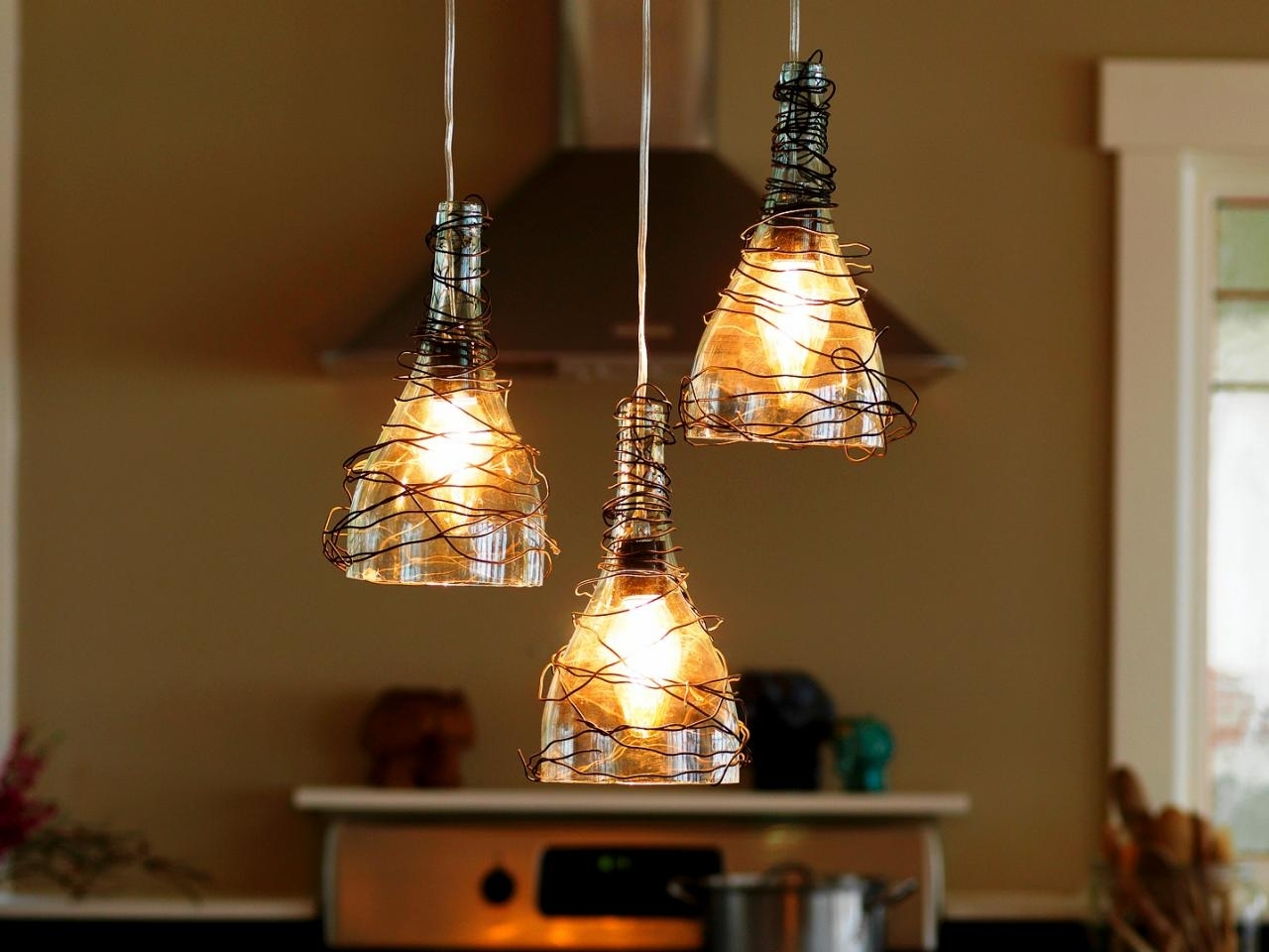 Upcycle Wine Bottle Into Pendant Light Fixtures | How Tos | Diy For Making Outdoor Hanging Lights From Wine Bottles (#14 of 15)