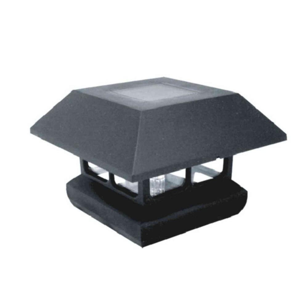 Inspiration about Veranda 4 In. X 4 In. Post Cap Solar Powered Black Plastic 2211 F11B With Modern Led Post Lights At  Home Depot (#14 of 15)