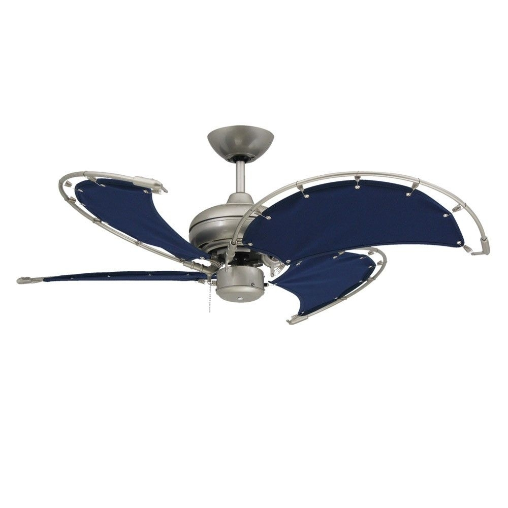 Inspiration about Voyage Nautical Ceiling Fan – Brushed Nickel With 40 Inch Sail Cloth With Regard To Brushed Nickel Outdoor Ceiling Lights (#15 of 15)