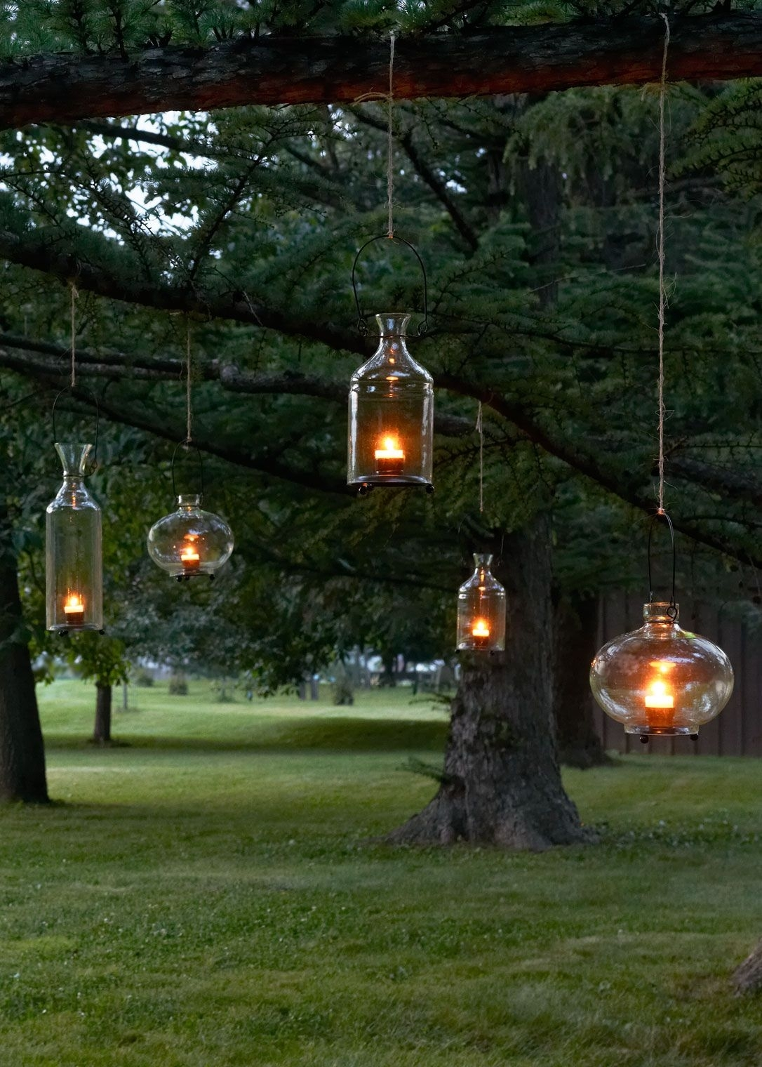 Warm Decor For Your Tabletop Or Garden – Recycled Glass Hanging Within Outdoor Hanging Lanterns For Trees (View 11 of 15)