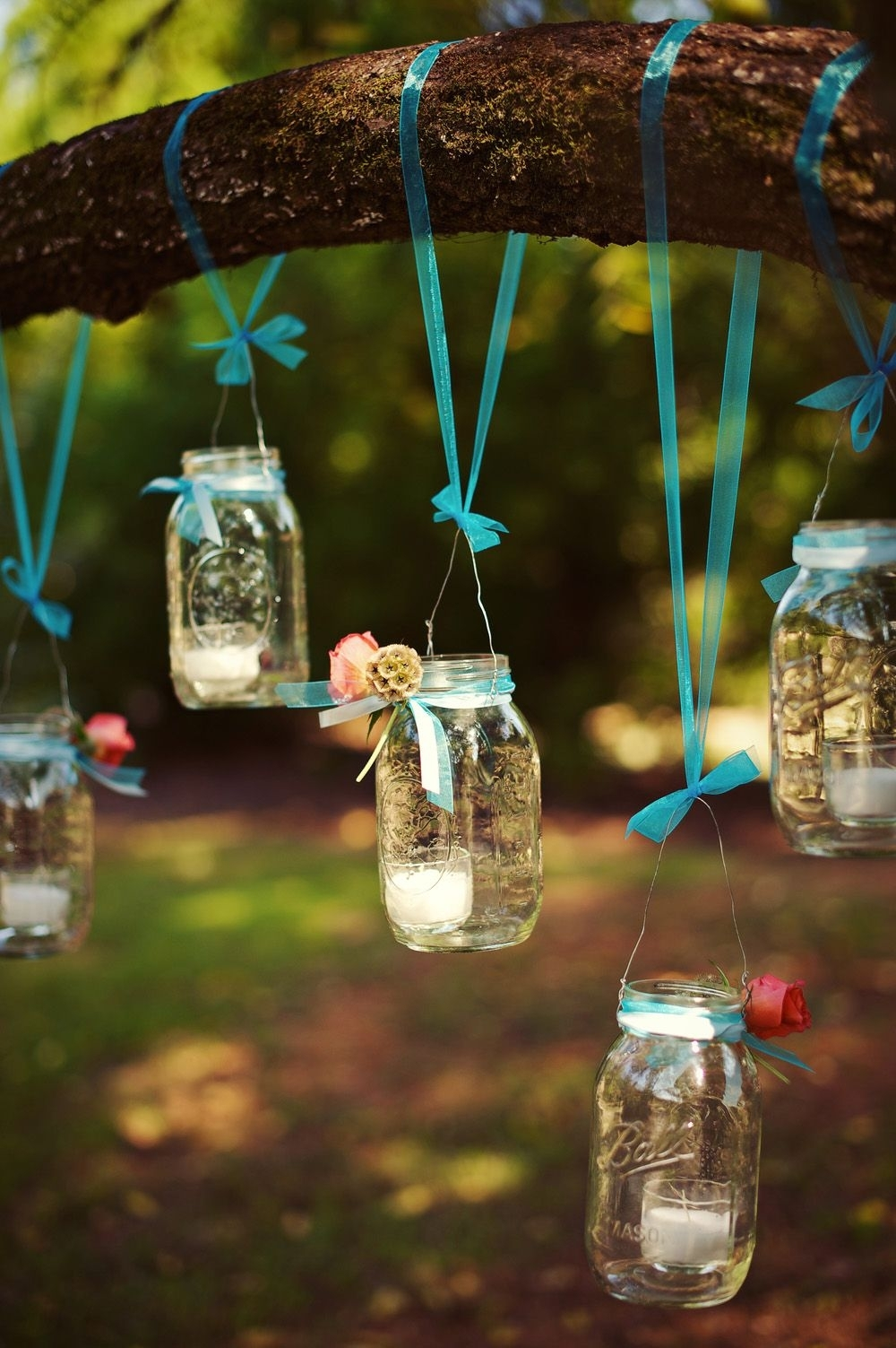 We Love This Rustic Outdoor Wedding To The Mountains And Back | Tree Throughout Outdoor Hanging Mason Jar Lights (View 14 of 15)