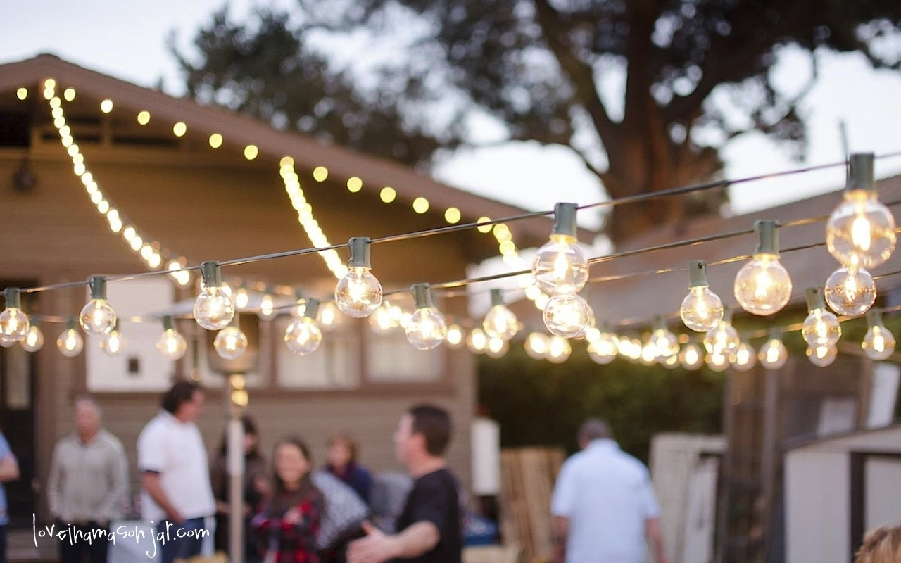 Wedding Ideas | Loveinamasonjar Intended For Hanging Outdoor Lights For A Party (#15 of 15)
