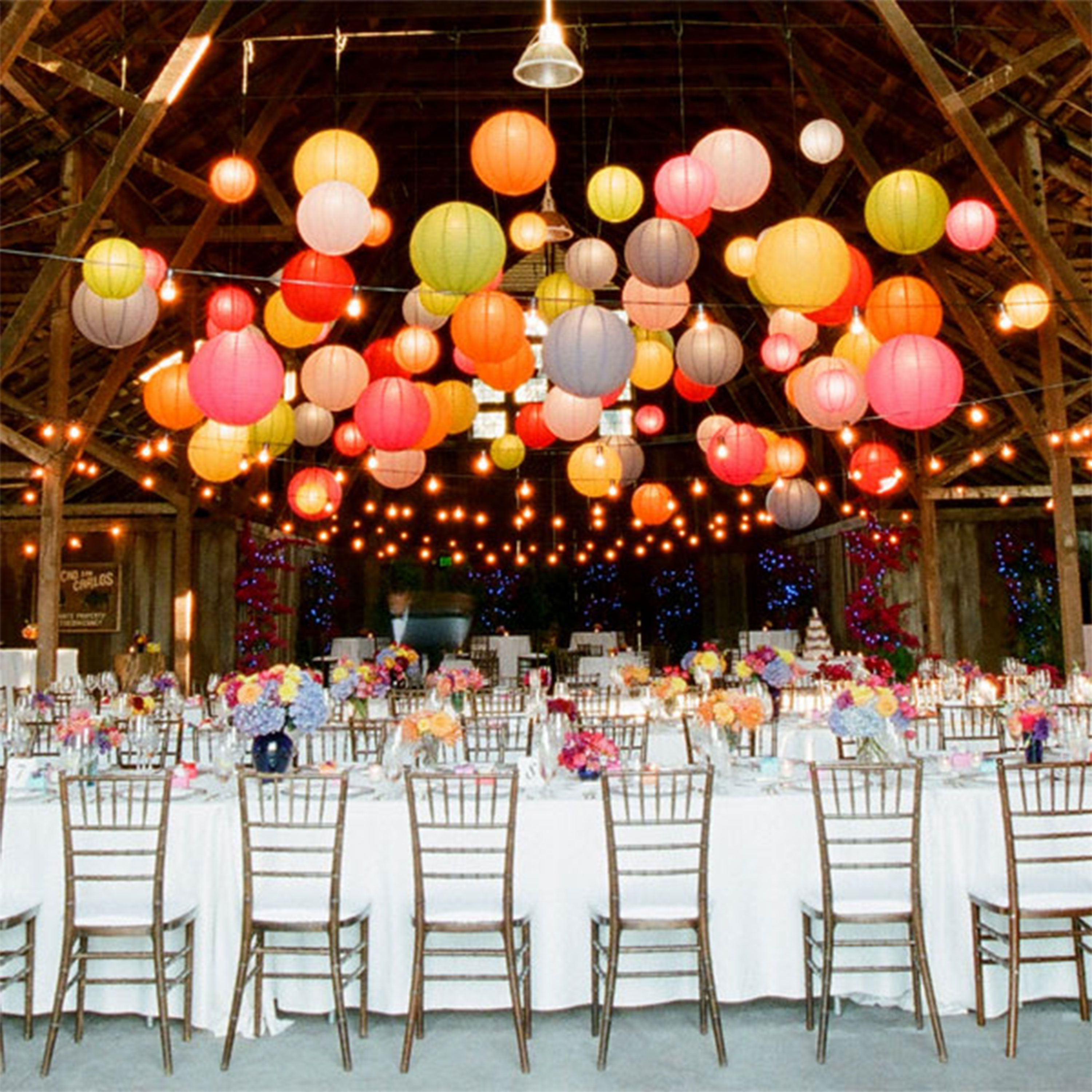 Wedding Paper Lantern Cluster | Wedding Paper Lanterns, Outdoor For Outdoor Hanging Paper Lanterns (View 13 of 15)