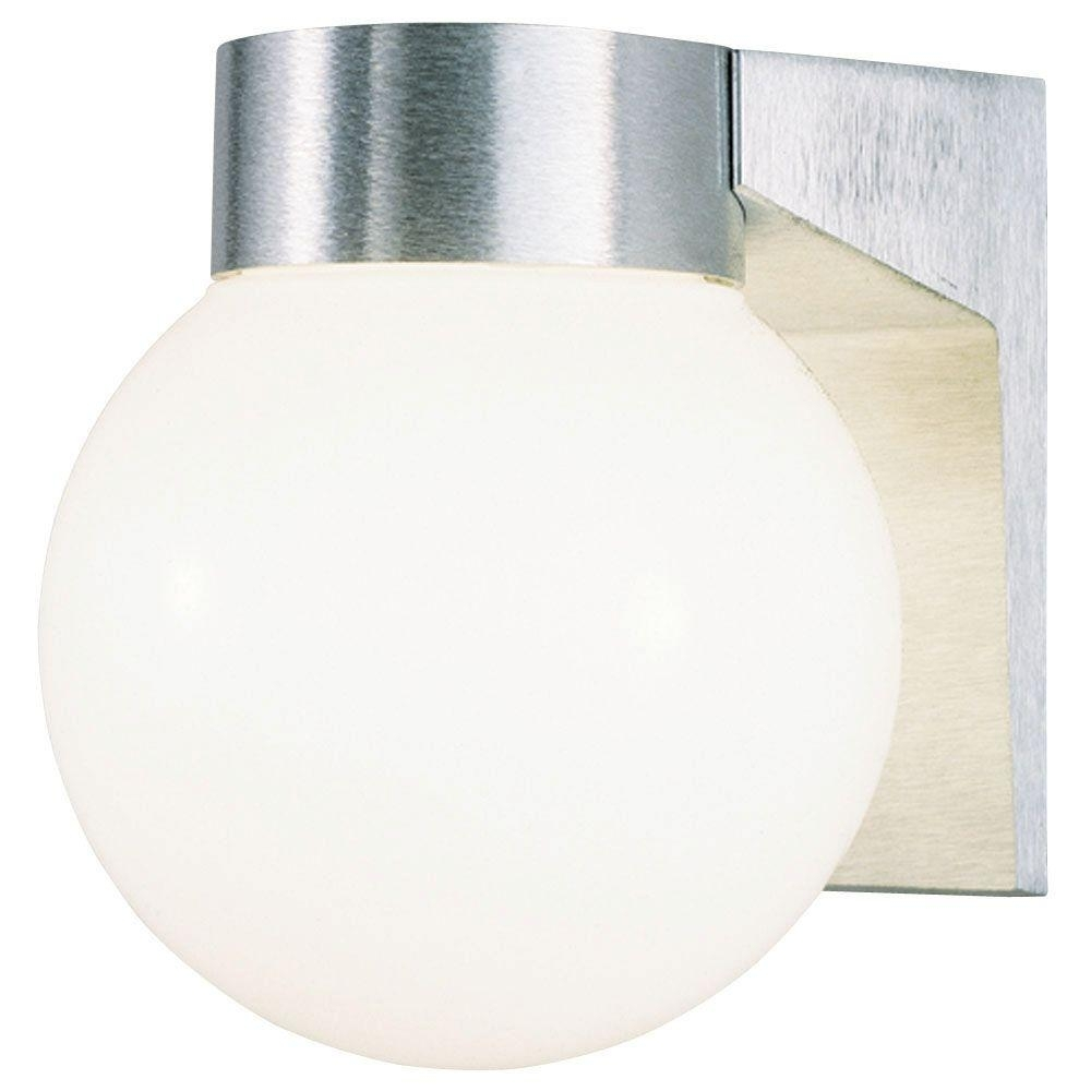 Westinghouse 1 Light Brushed Aluminum On Cast Exterior Wall Lantern With Globe Outdoor Wall Lighting (#15 of 15)