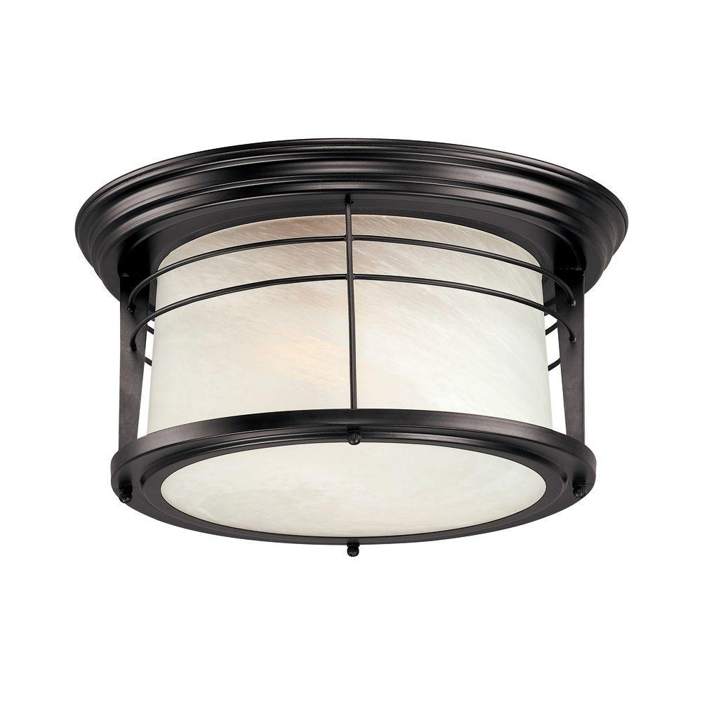 Westinghouse Senecaville 2 Light Weathered Bronze Outdoor Flushmount Pertaining To Outdoor Ceiling Mounted Lights (#15 of 15)
