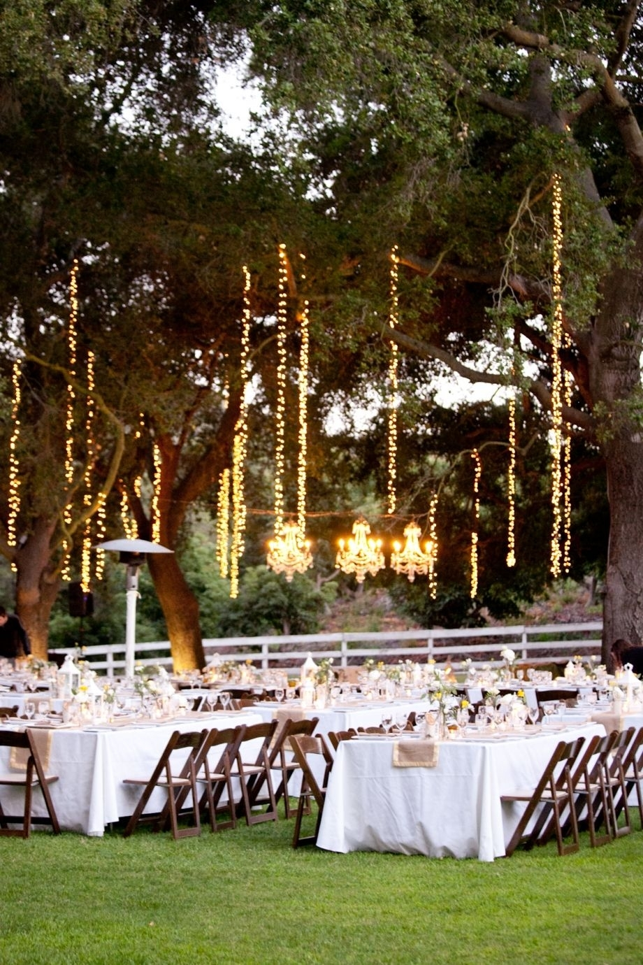 What About Hanging Lights Vertically Like This? This Might Solve The With Regard To Hanging Lights For Outdoor Wedding (#14 of 15)