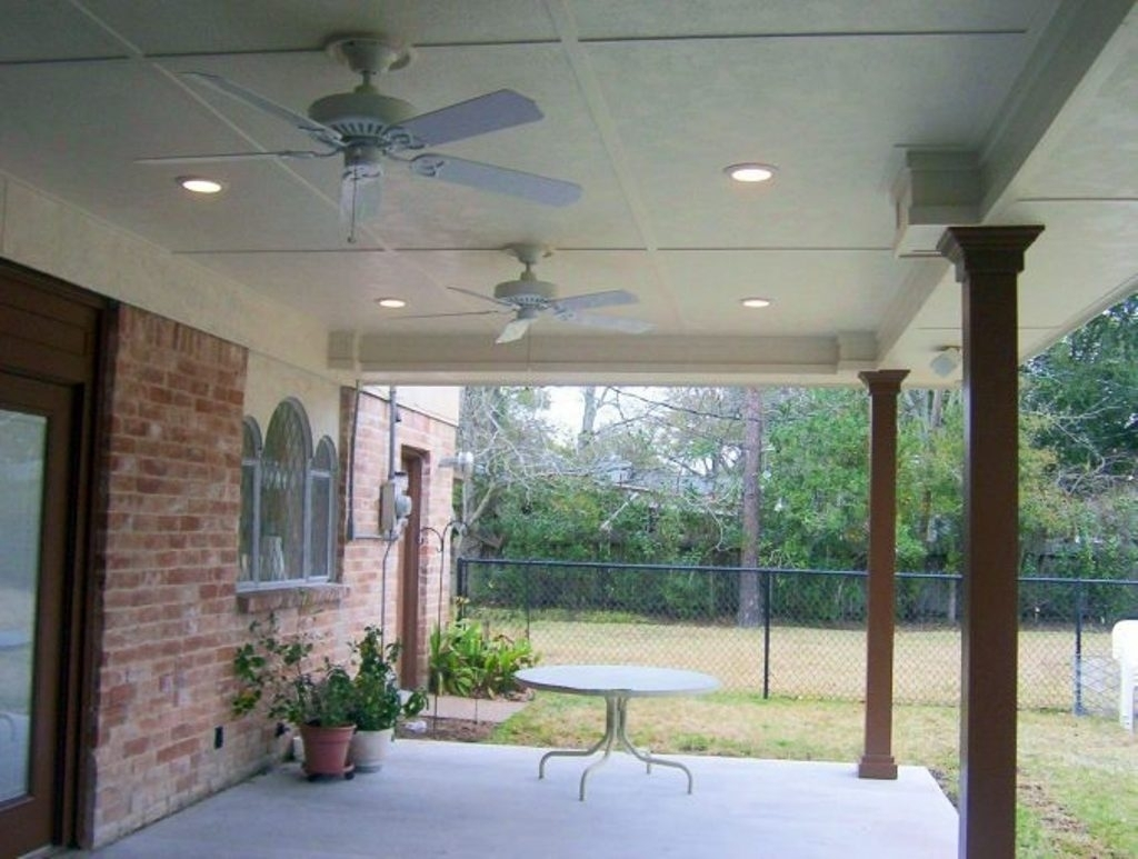White Small Outdoor Ceiling Fan With Light With Concrete Floor And In Round Outdoor Ceiling Lights (#15 of 15)