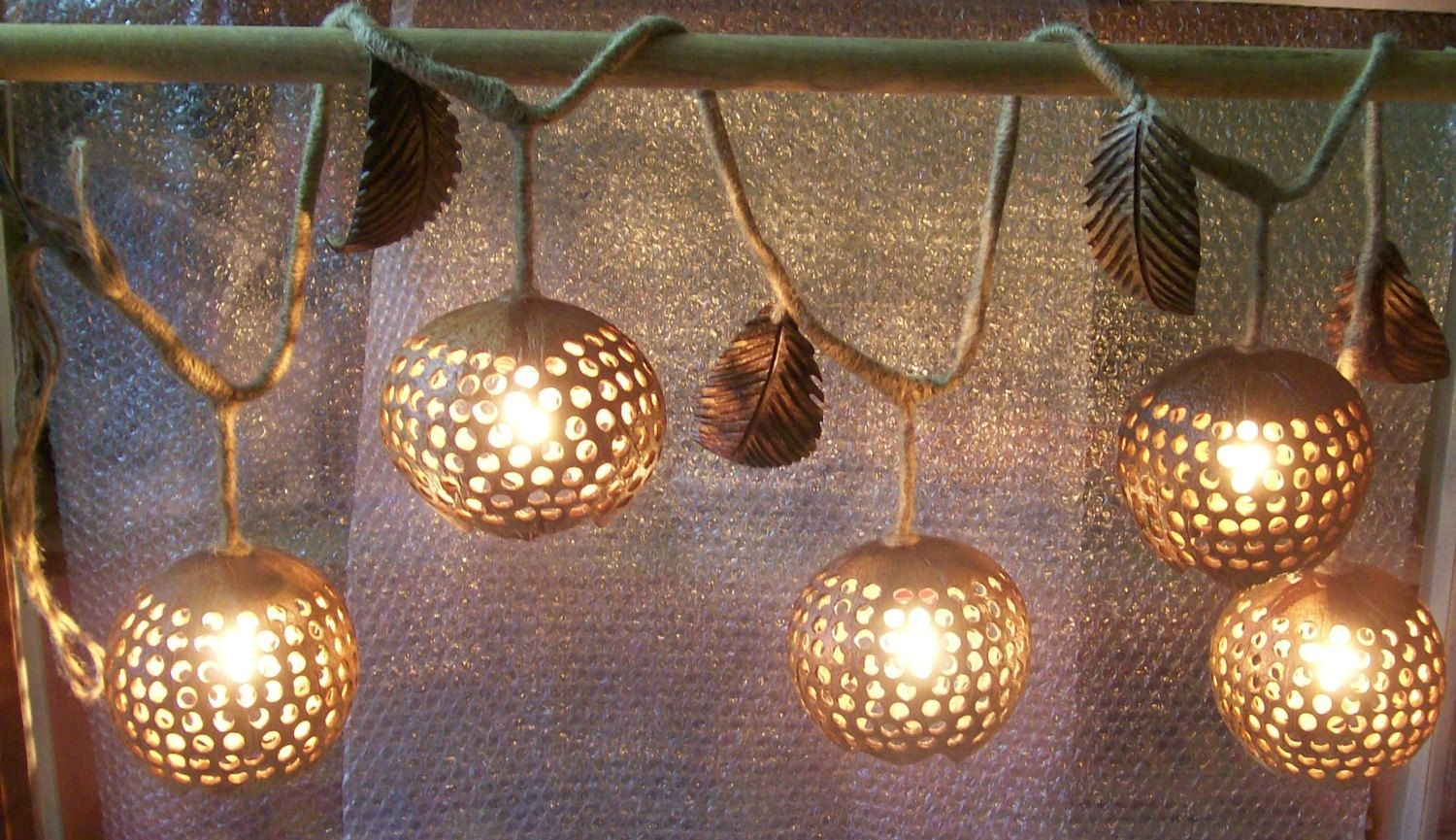 Wood Hanging Lamp Ivy 5 Ball Coconut Shell Fruit Lanterns Ceiling In Round Outdoor Hanging Lights (View 11 of 15)