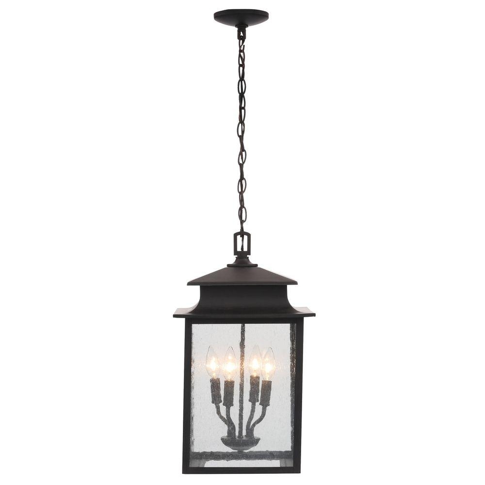 World Imports Sutton Collection 4 Light Rust Outdoor Hanging Lantern Intended For Outdoor Hanging Lighting Fixtures At Home Depot (#15 of 15)