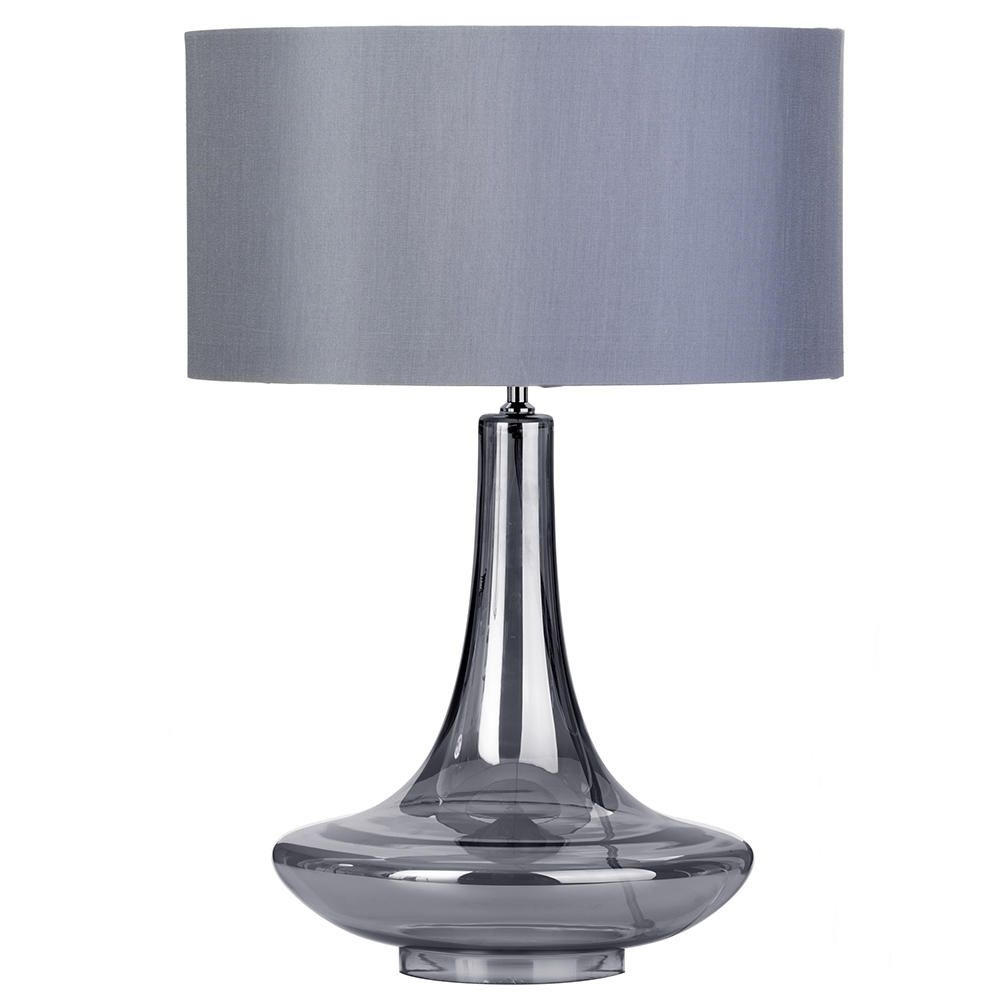 Inspiration about 1 Light Gourd Style Table Lamp With Grey Shade – Smoked Glass With Regard To Debenhams Table Lamps For Living Room (#3 of 15)