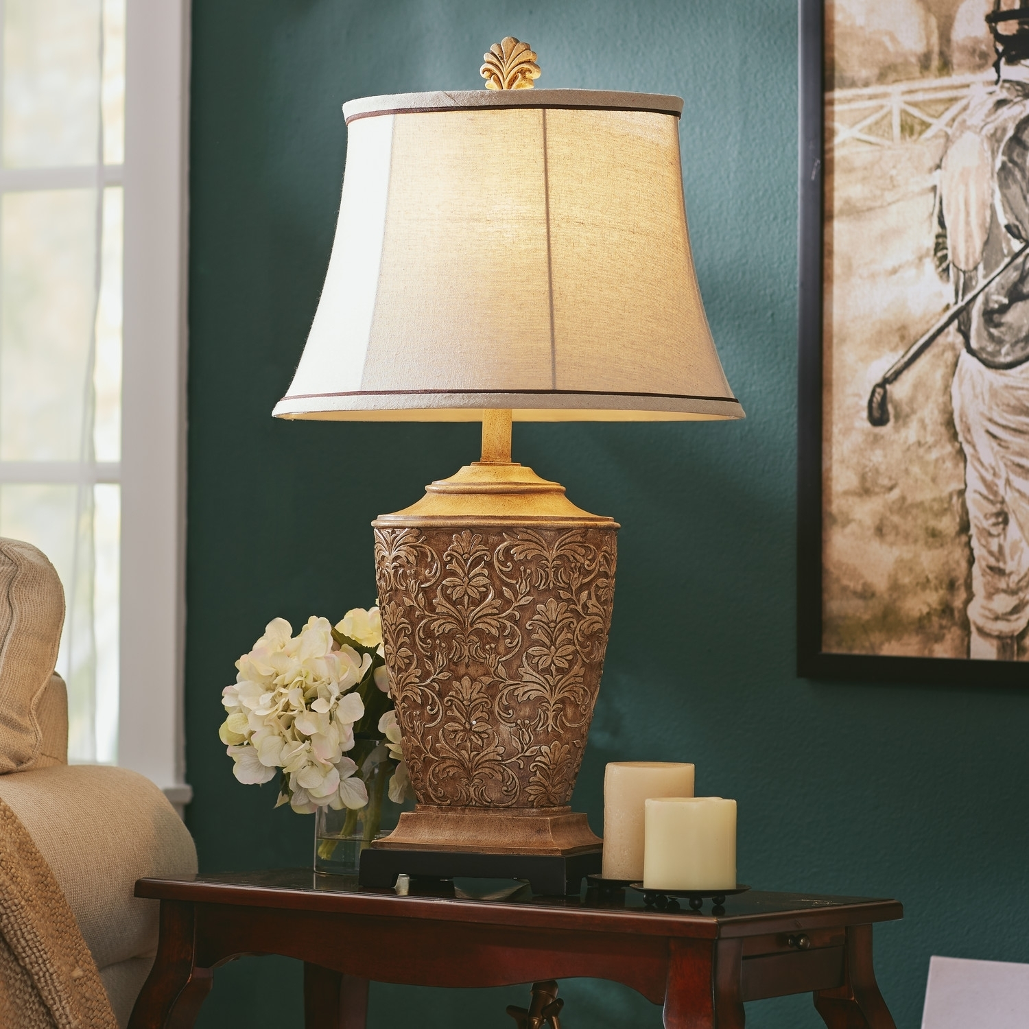 Popular Photo of Teal Living Room Table Lamps