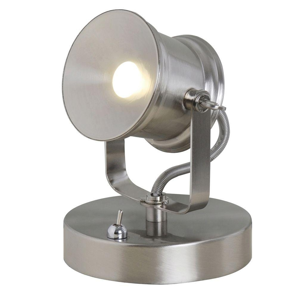 Inspiration about 5.1 In. Brushed Nickel Integrated Led Spotlight Desk Lamp In Living Room Table Lamps At Home Depot (#10 of 15)