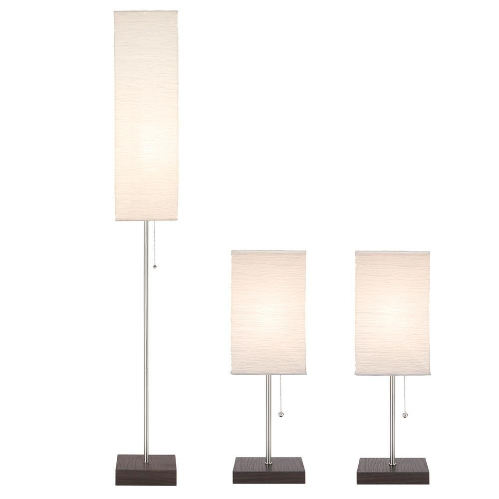 Inspiration about 60 In. Floor And 19 In. Table Lamps With Paper Shade Combo Set (3 Pack) For Living Room Table Lamps At Home Depot (#2 of 15)