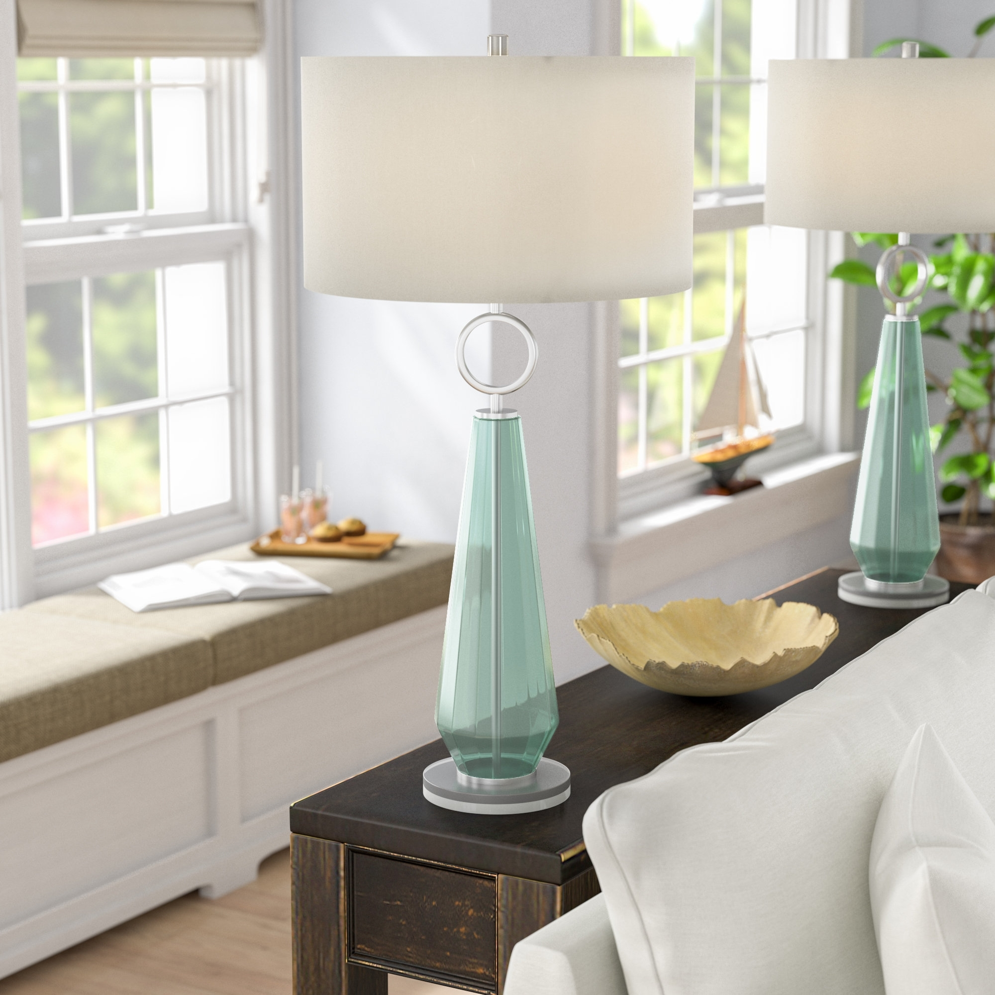 Beachcrest Home Jaylah Transitional Sea Glass Acrylic And Metal 36 With Regard To Transitional Living Room Table Lamps (#1 of 15)