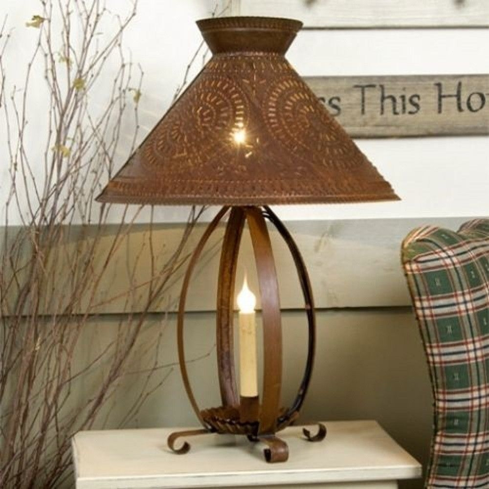Betsy Ross Colonial Table Lamp With Pierced Chisel Pattern Shade In Throughout Primitive Living Room Table Lamps (#3 of 15)