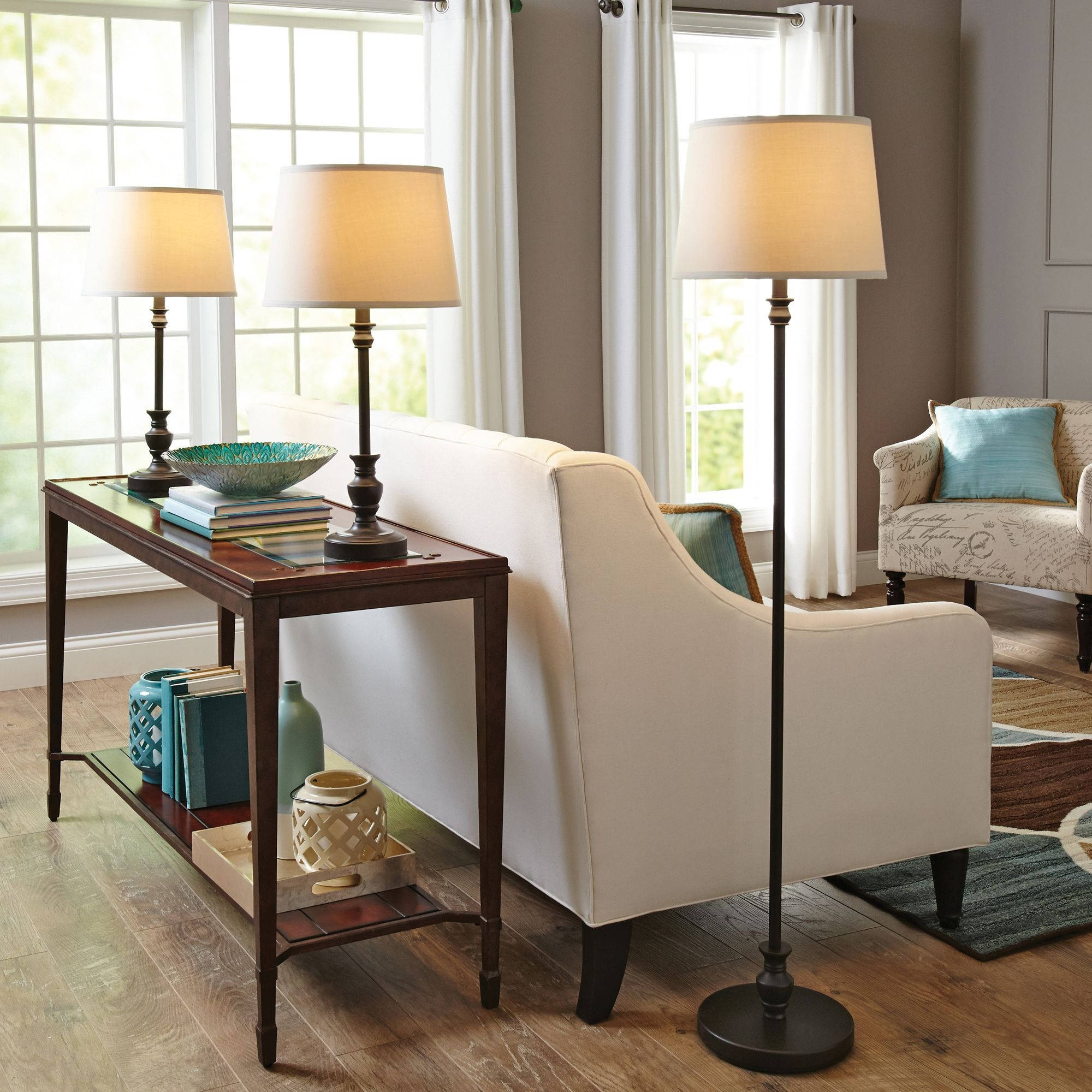 Better Homes & Gardens 3 Piece Lamp Set, Bronze Finish – Walmart Within Living Room Table Lamps Sets (#3 of 15)