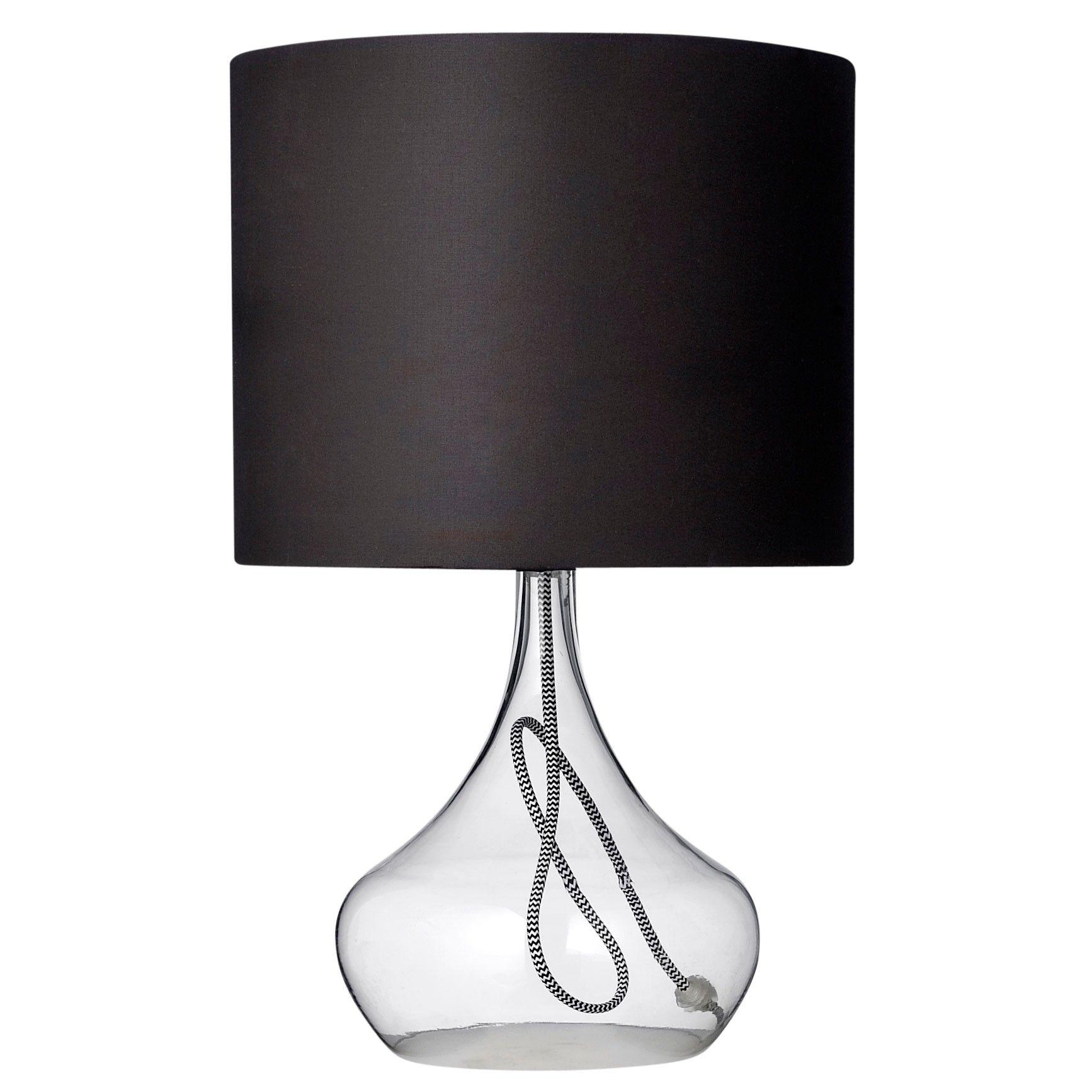 Bloomingville Glazen Tafellamp Core Met Zwarte Stoffen Kap | Meubels With Debenhams Table Lamps For Living Room (#6 of 15)