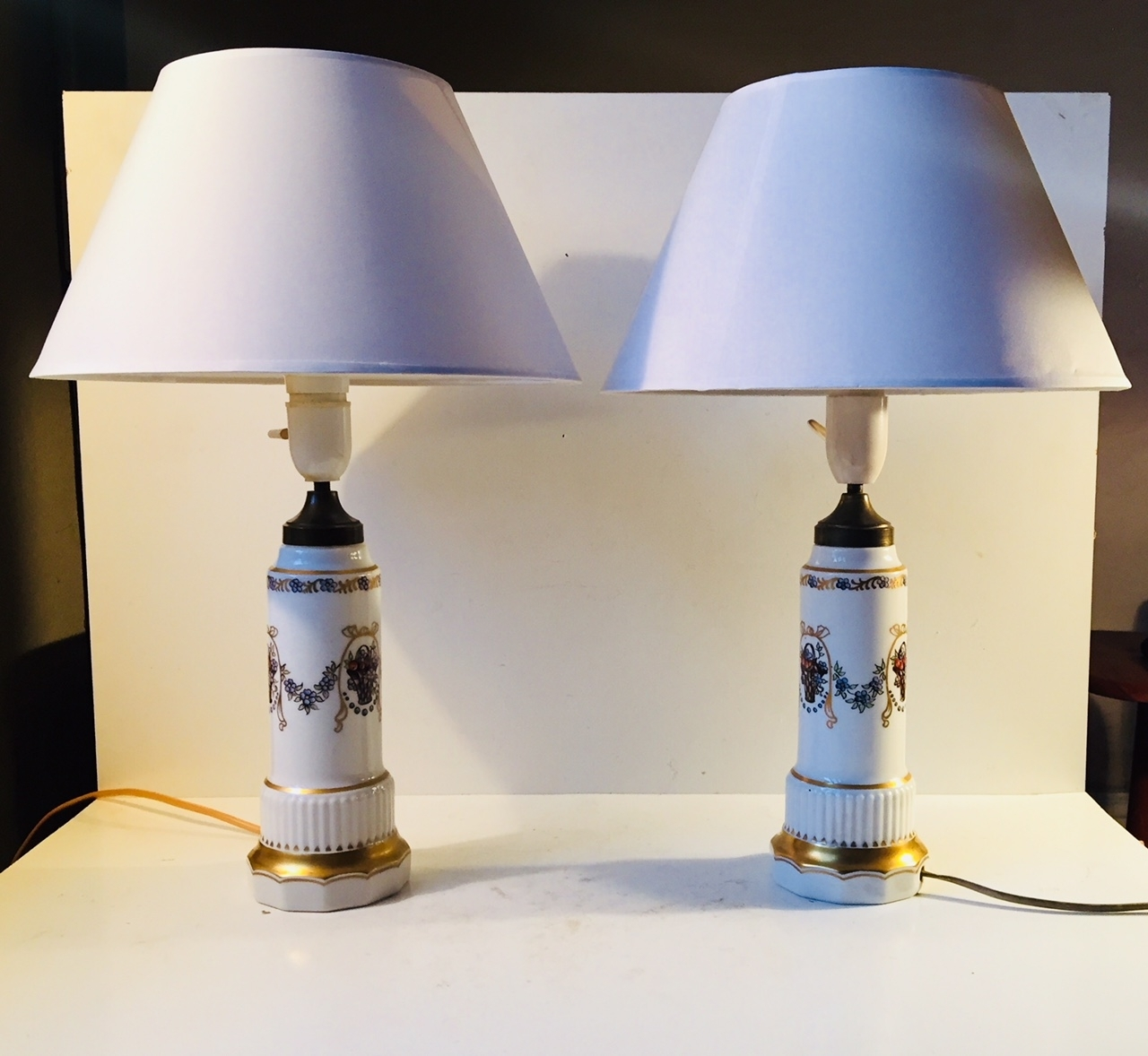 Complete Porcelain Table Lamp Danish Lampsdahl Jensen 1930S Set Throughout Set Of 2 Living Room Table Lamps (View 3 of 15)
