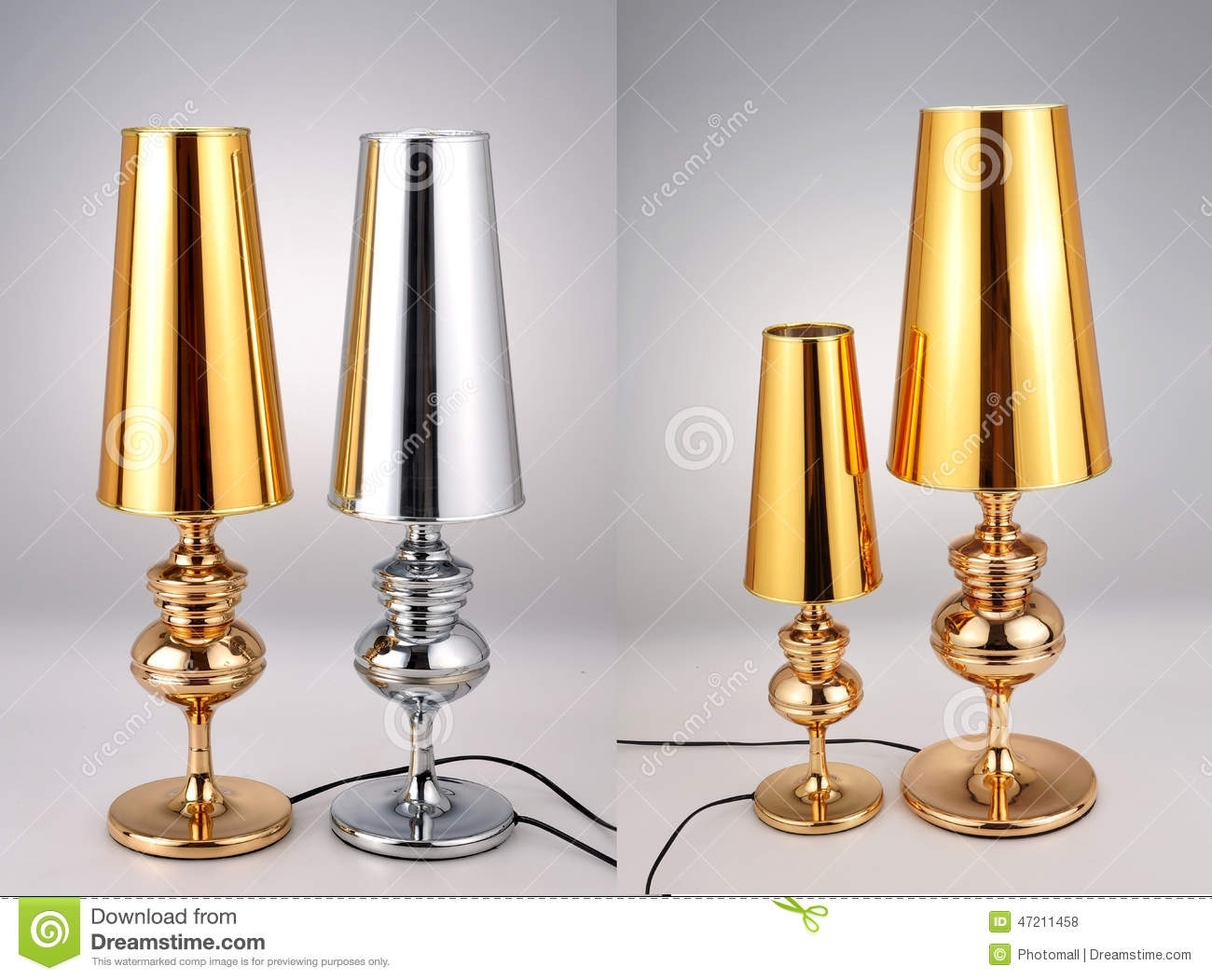 Golden And Silver Table Lamps,luxury Table Lights Stock Photo For Gold Living Room Table Lamps (#9 of 15)