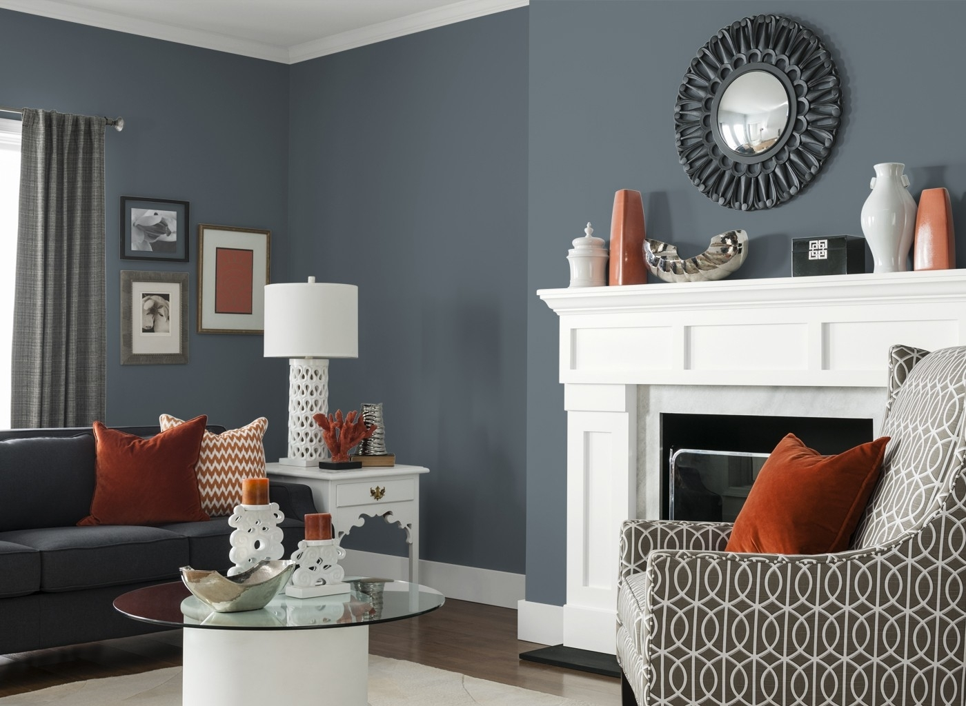 Gray Living Room Furniture Stone Fireplace Arched Door White Table For White Living Room Table Lamps (View 2 of 15)
