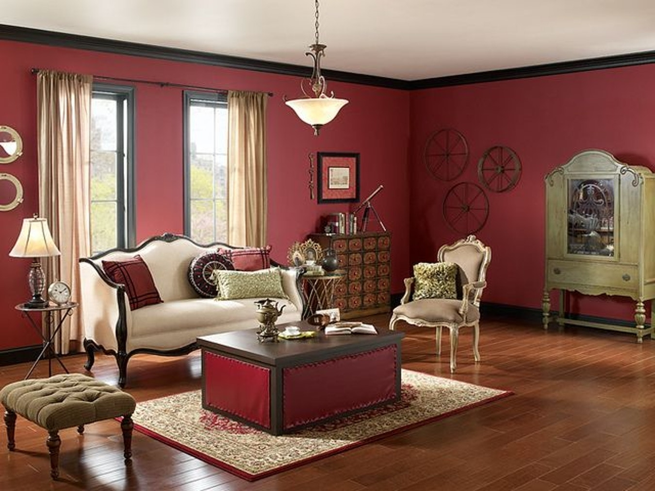 Interior : Burgundy Wall Living Room Cream Victorian Sofa White Regarding Brown Living Room Table Lamps (View 6 of 15)