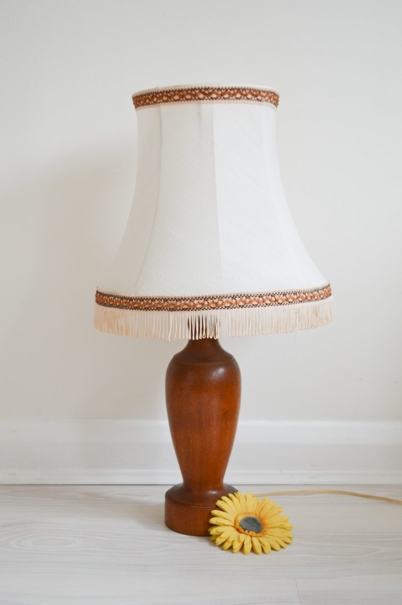 Lamp : Midentury Oak Base Lampshade Table Lamp Light Gorgeous Shade Within Living Room Touch Table Lamps (#7 of 15)