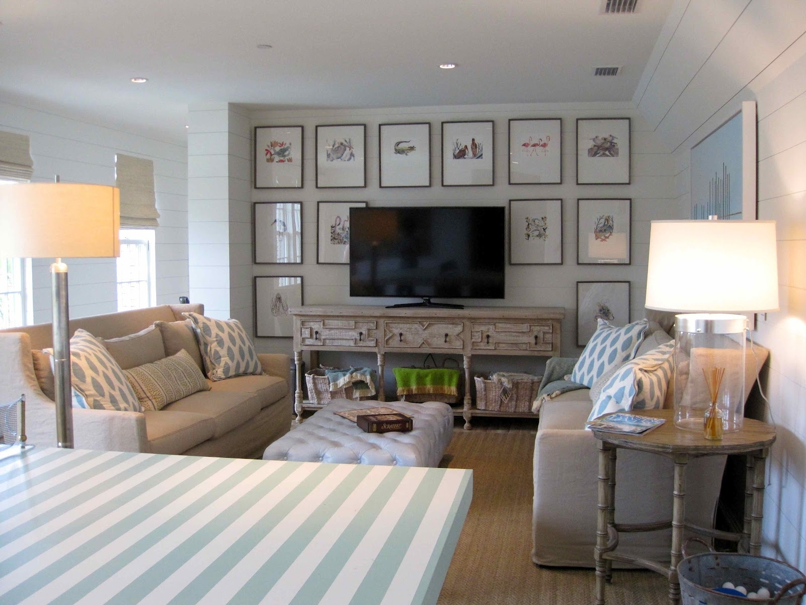 Inspiration about Living Room : Coastal Living Room Cream Fabric Sofa White Leather With Coastal Living Room Table Lamps (#9 of 15)