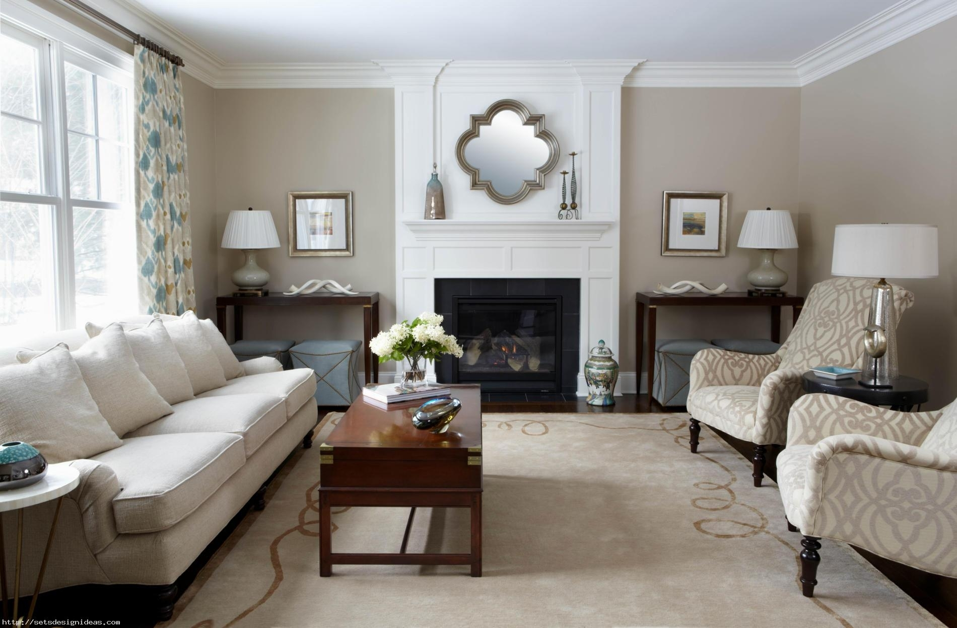 Inspiration about Living Room Wall Mirror Above Fireplace Mantel For Transitional For Transitional Living Room Table Lamps (#1 of 15)