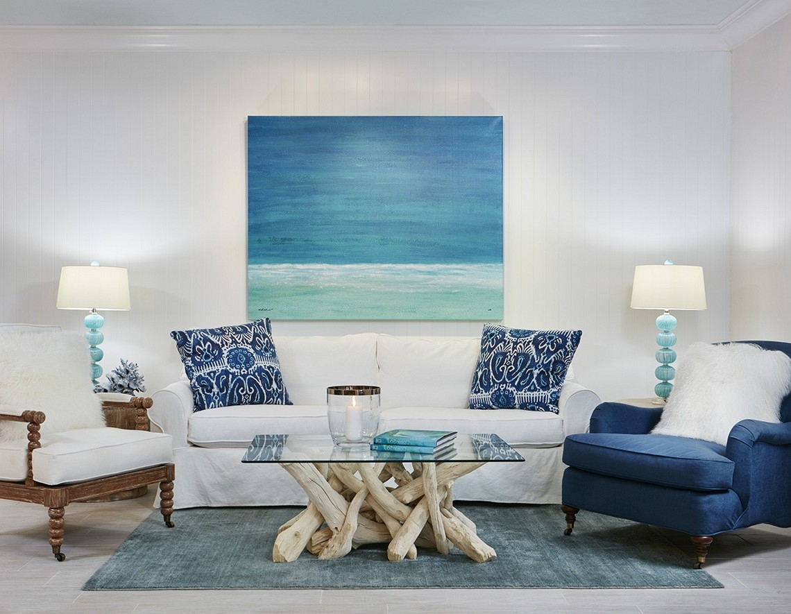 Inspiration about Living Room : White Fabric Sofa Blue Throw Pillow Blue Fabric With Regard To Coastal Living Room Table Lamps (#13 of 15)